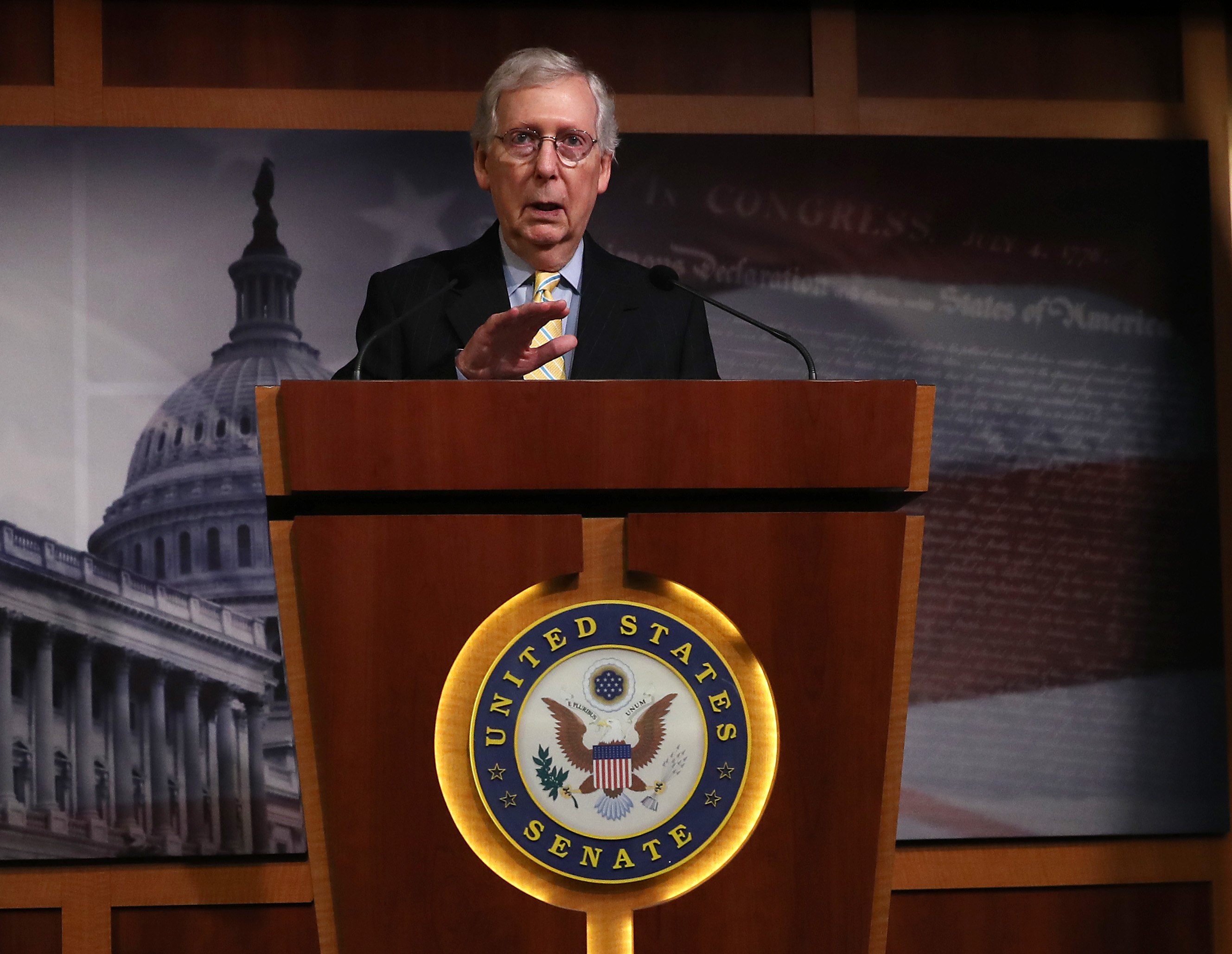 Senate Majority Leader Mitch McConnell speaks to the media during a news conference on Capitol Hill June 27, 2019 in Washington, DC. (Photo by Mark Wilson/Getty Images)