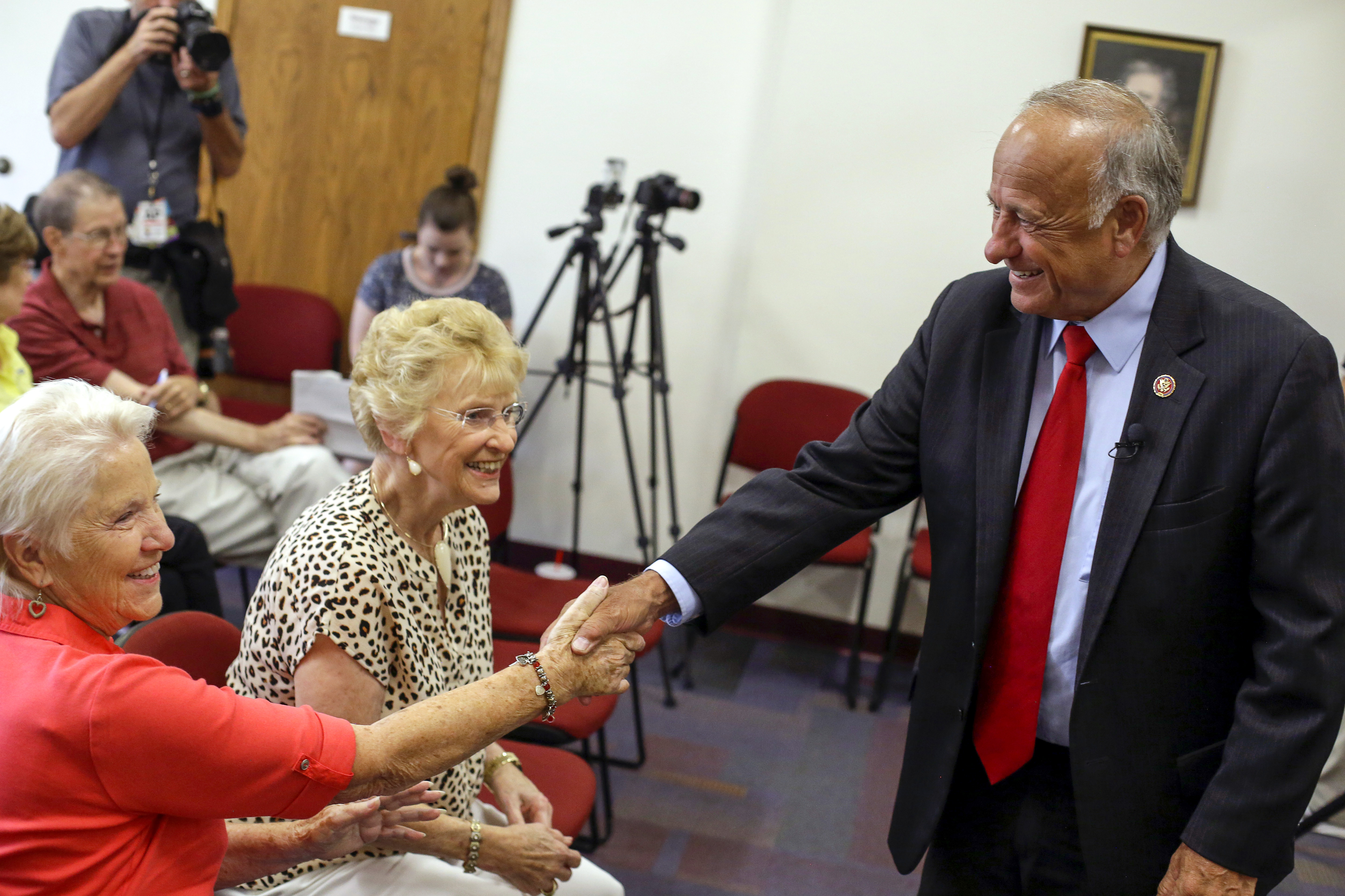 BOONE, IA - AUGUST 13: U.S. Rep. Steve King (R-IA) greets attendees during a town hall meeting at the Ericson Public Library on August 13, 2019 in Boone, Iowa. Steve King, who was stripped of House committee assignments earlier this year after making racist comments spoke about immigration and the U.S. and Mexico border. (Photo by Joshua Lott/Getty Images)