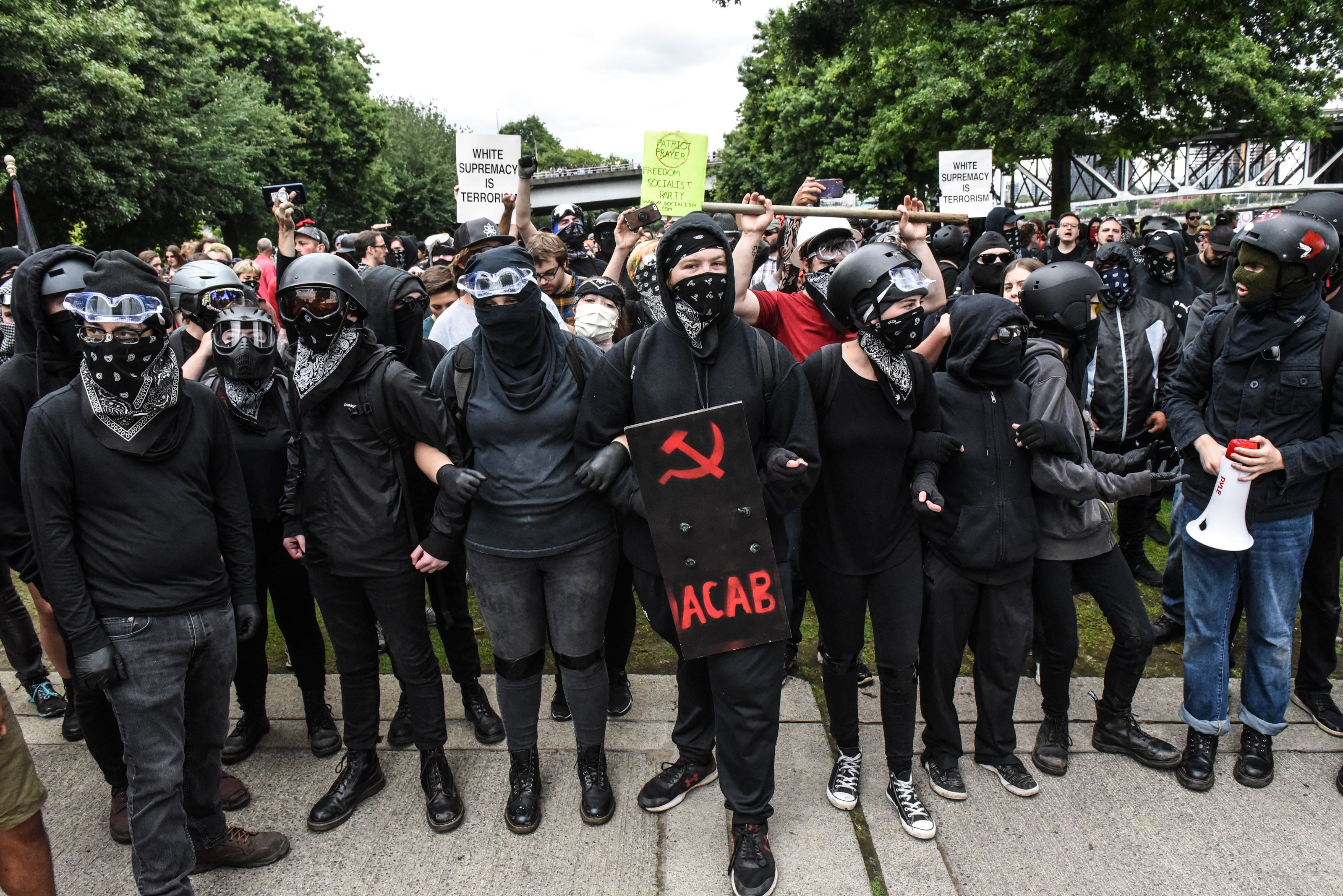 PORTLAND, OR - AUGUST 17: Members of Antifa line up during an alt-right rally on August 17, 2019 in Portland, Oregon. Anti-fascism demonstrators gathered to counter-protest a rally held by far-right, extremist groups. (Photo by Stephanie Keith/Getty Images)