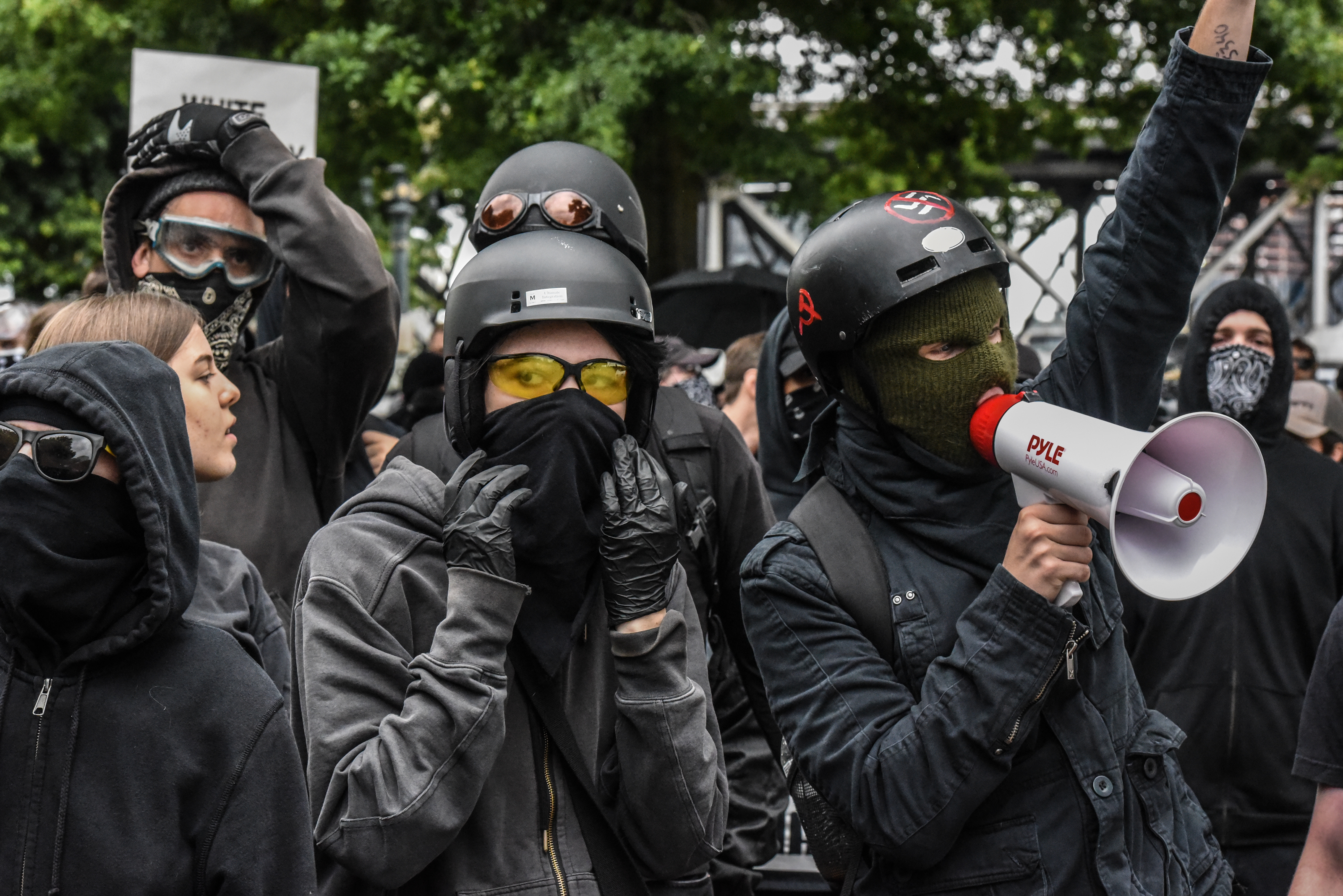 Counter-protesters wear black clothes during an Antifa gathering during an alt-right rally on August 17, 2019 in Portland, Oregon. (Stephanie Keith/Getty Images)