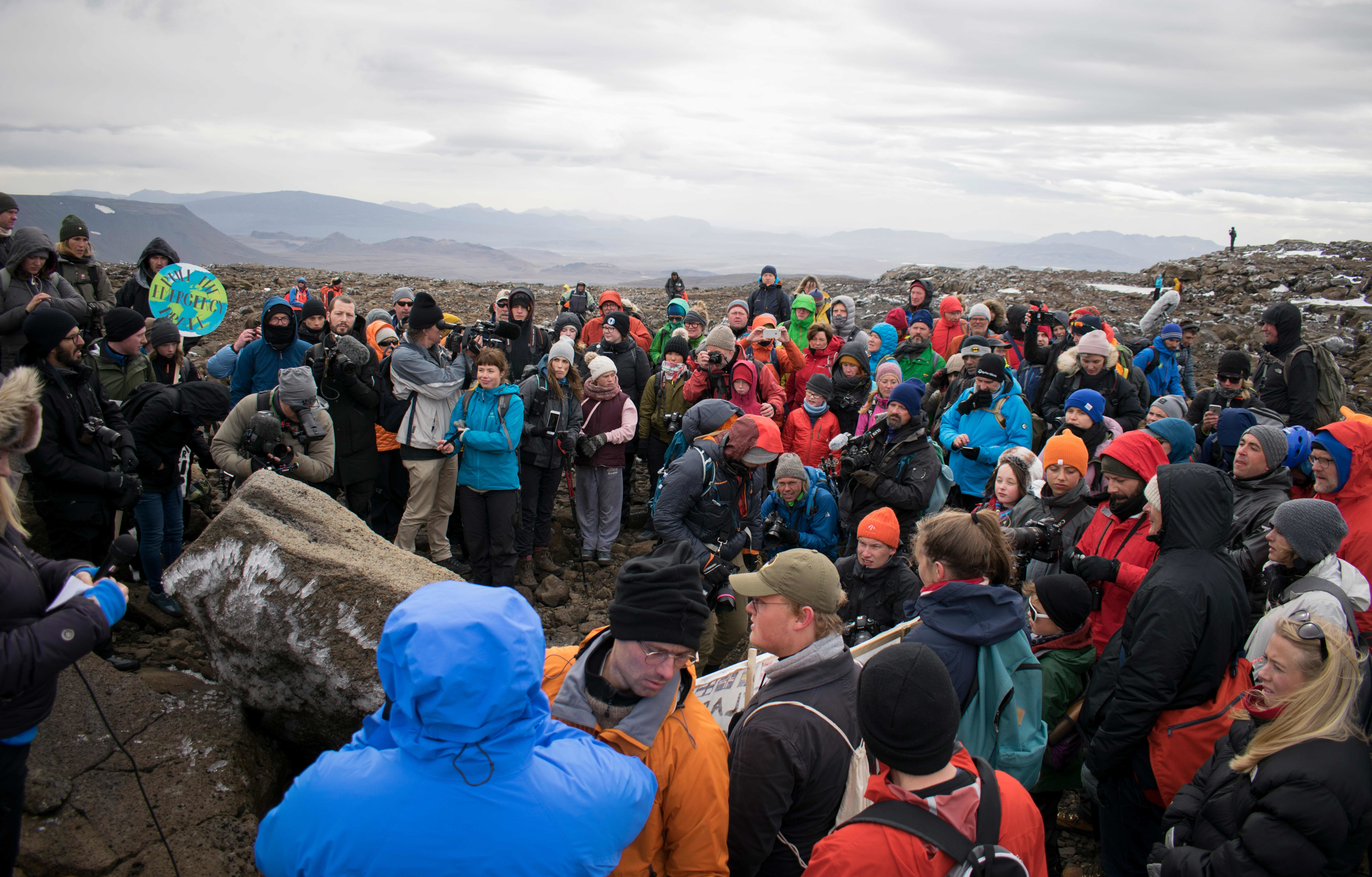 A monument is unveiled at the site of Okjokull, Iceland's first glacier lost to climate change in the west of Iceland on August 18, 2019. (Photo by Jeremie RICHARD / AFP) (Photo credit should read JEREMIE RICHARD/AFP/Getty Images)