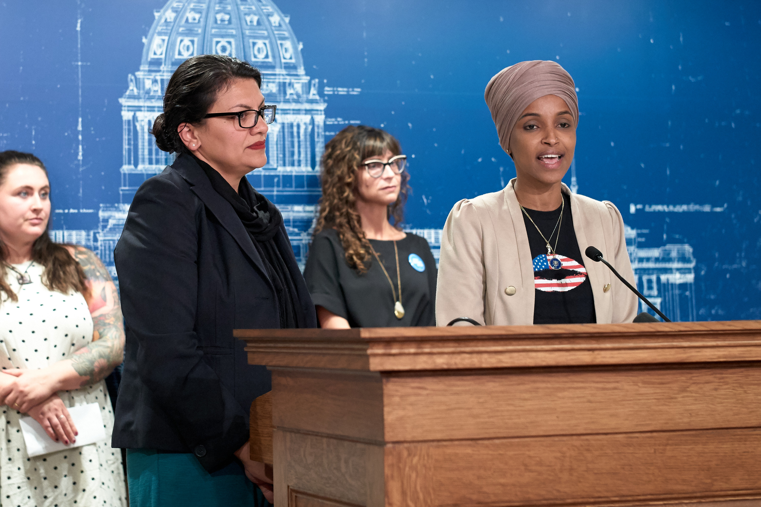 U.S. Reps. Ilhan Omar (D-MN) and Rashida Tlaib (D-MI) hold a news conference on August 19, 2019 in St. Paul, Minnesota. (Adam Bettcher/Getty Images)