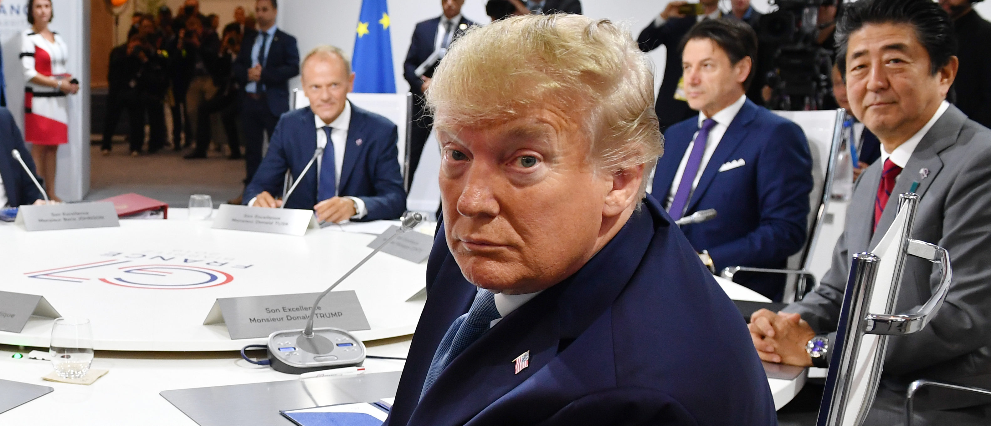 US President Donald Trump attends the first working session of the G7 Summit on August 25, 2019 in Biarritz, France. (Jeff J Mitchell - Pool /Getty Images)