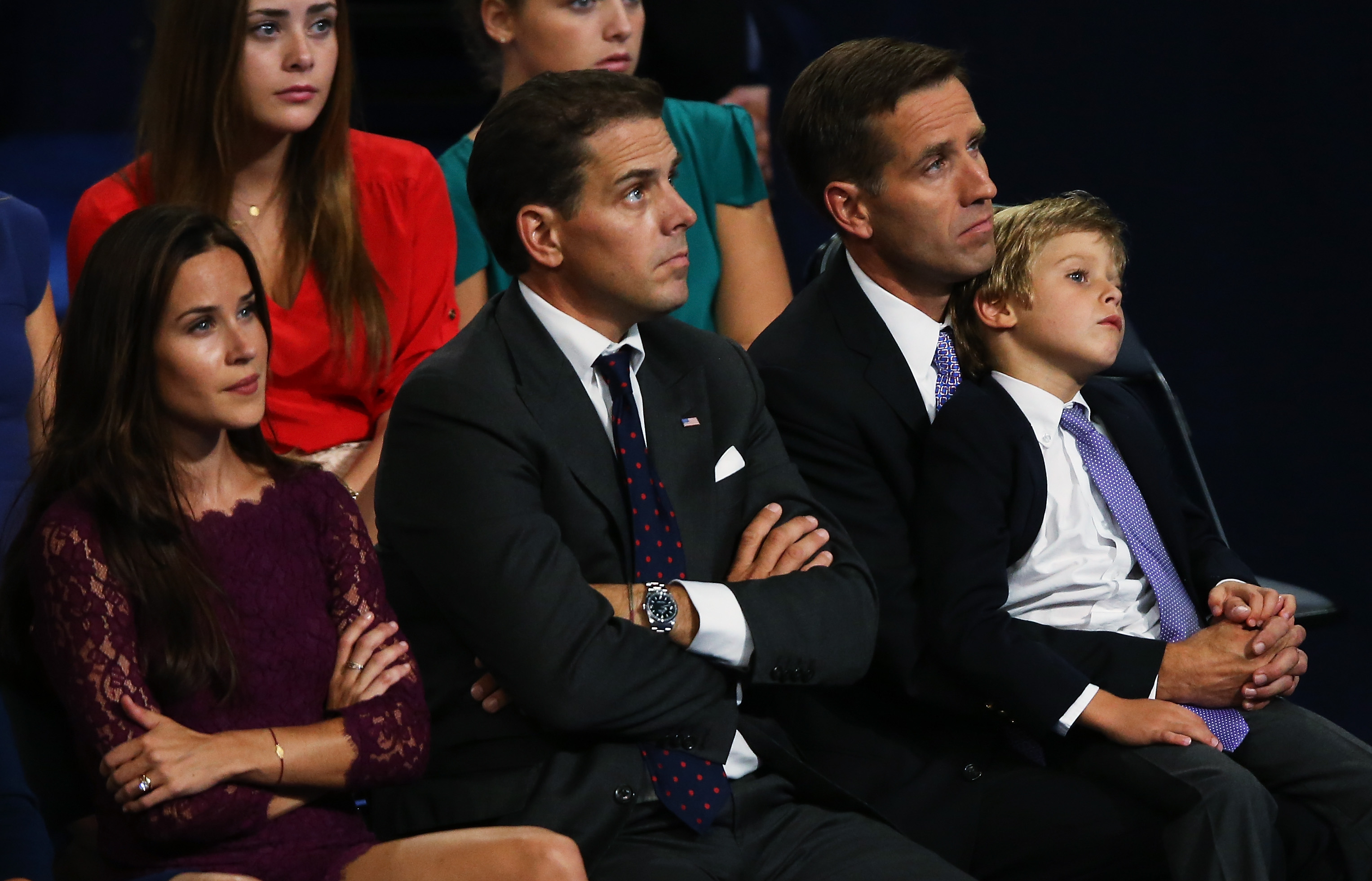 CHARLOTTE, NC - SEPTEMBER 06: (R-L) Attorney General of Delaware Beau Biden, Hunter Biden, and Ashley Biden, watch their father Democratic vice presidential candidate, U.S. Vice President Joe Biden speaks on stage during the final day of the Democratic National Convention at Time Warner Cable Arena on September 6, 2012 in Charlotte, North Carolina. The DNC, which concludes today, nominated U.S. President Barack Obama as the Democratic presidential candidate. (Photo by Streeter Lecka/Getty Images)