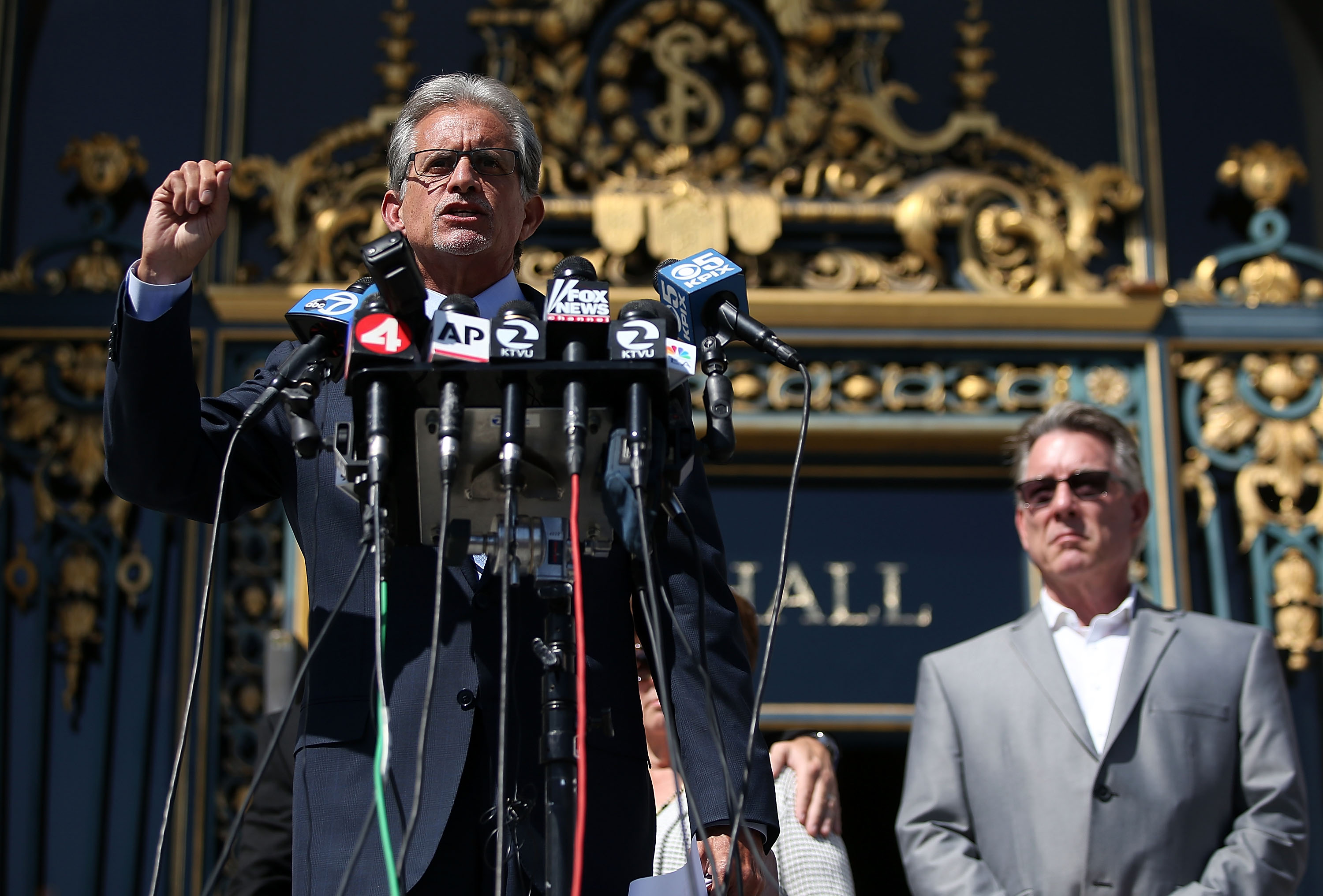 SAN FRANCISCO, CA - SEPTEMBER 01: Frank Pitre, attorney for the family of Kate Steinle who was killed by an undocumented immigrant, speaks during a news conference on September 1, 2015 in San Francisco, California. The family of Kate Steinle who was killed by an undocumented immigrant, have filed claims against San Francisco Sheriff Ross Mirkarimi, the Bureau of Land Management and Immigration and Customs Enforcement for their role in their daughter's death. (Photo by Justin Sullivan/Getty Images)