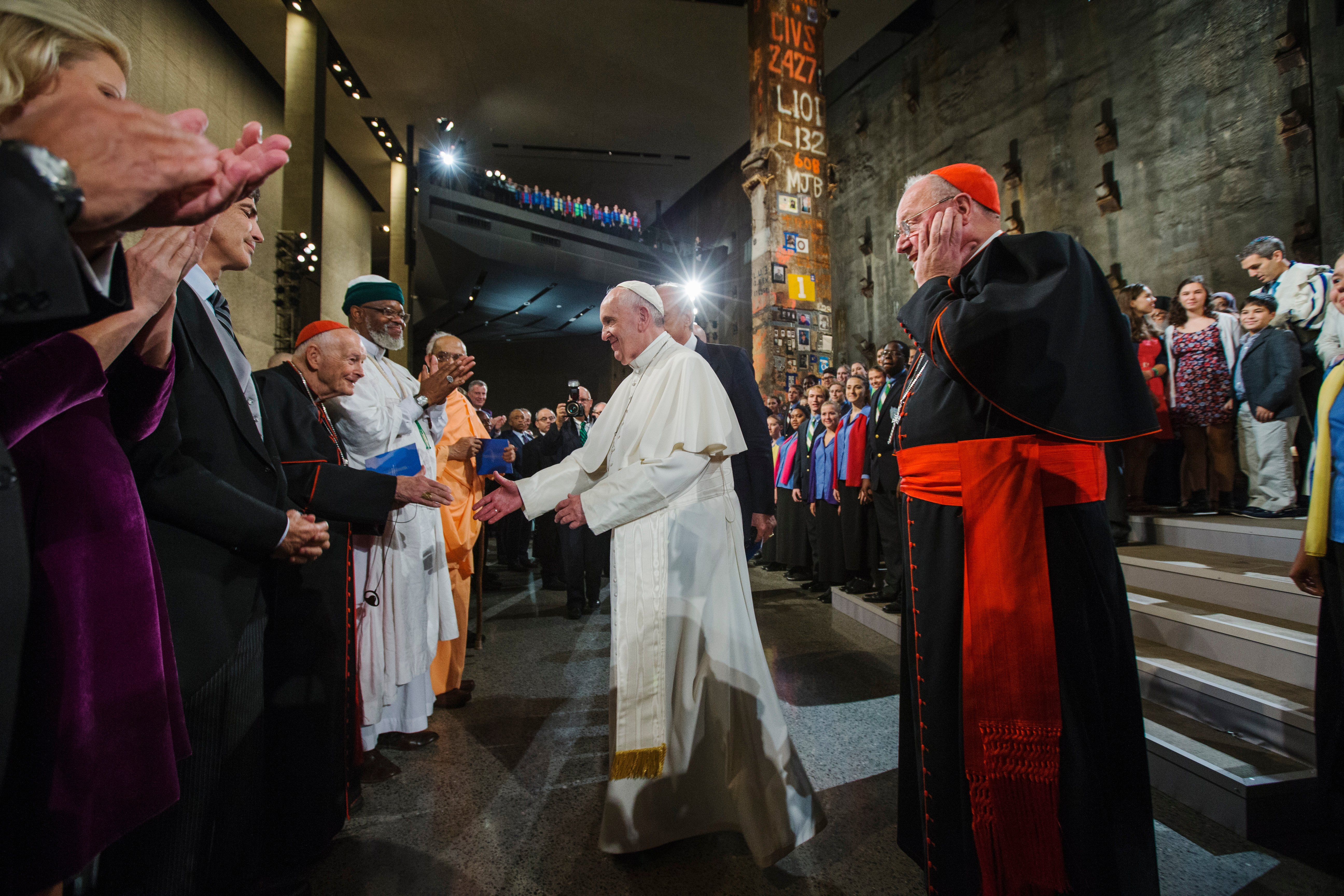 NEW YORK, NY - SEPTEMBER 25: Pope Francis greets Cardinal Theodore McCarrick, former Archbishop of Washington, DC, following a multi-religious gathering during a visit to the 9/11 Memorial and Museum on September 25, 2015 in New York City. Pope Francis visited the former World Trade Center site as part of his five-day trip to the United States. (Photo by Jin Lee-Pool/Getty Images)