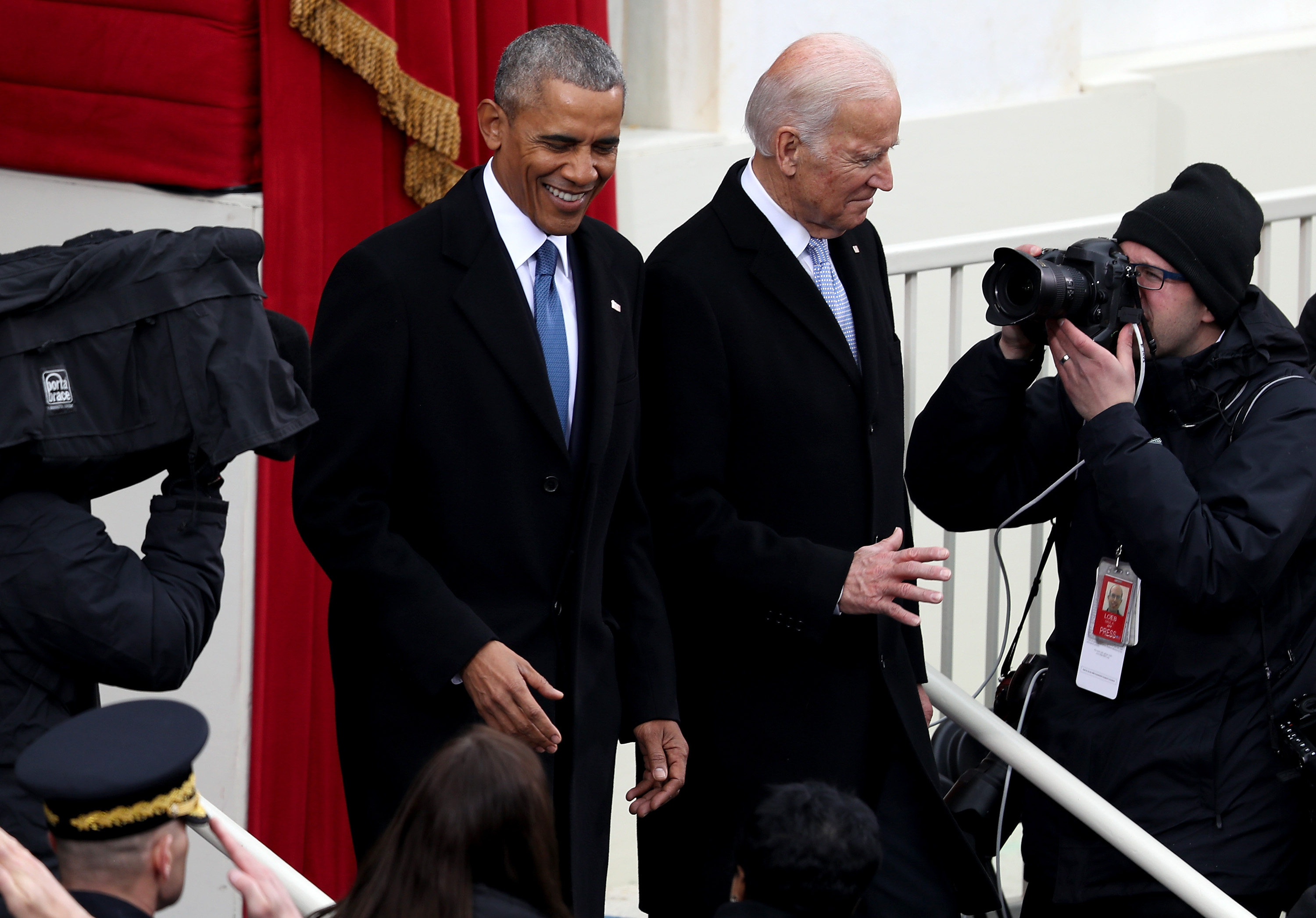 WASHINGTON, DC - JANUARY 20: President Barack Obama and Vice President Joe Biden arrive on the West Front of the U.S. Capitol on January 20, 2017 in Washington, DC. In today's inauguration ceremony Donald J. Trump becomes the 45th president of the United States. (Photo by Joe Raedle/Getty Images)