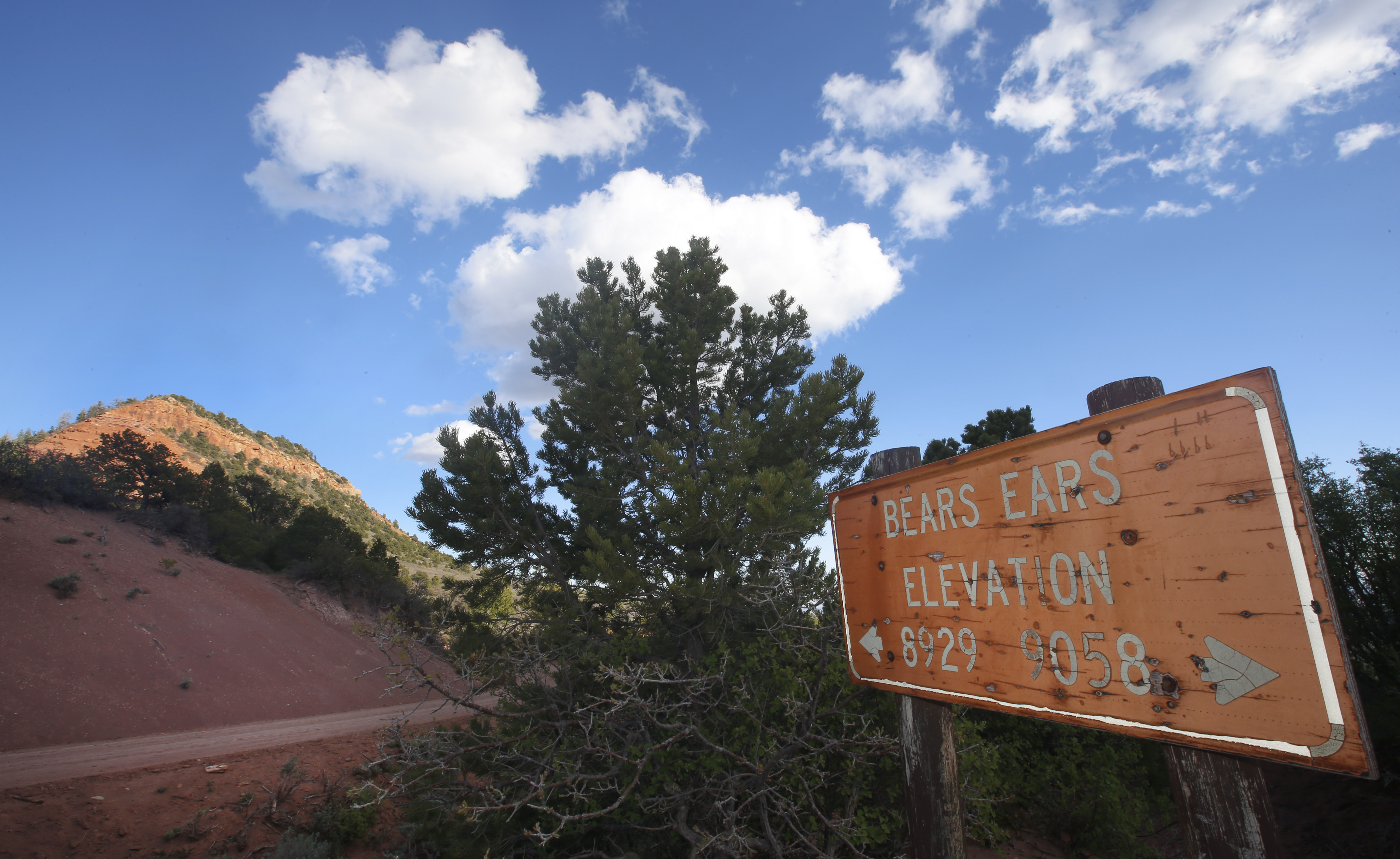 """A sign give the elevation of """"Bears Ears #2"""" in the Bears Ears National Monument on May 11, 2017 outside Blanding, Utah. (Photo by George Frey/Getty Images)"""
