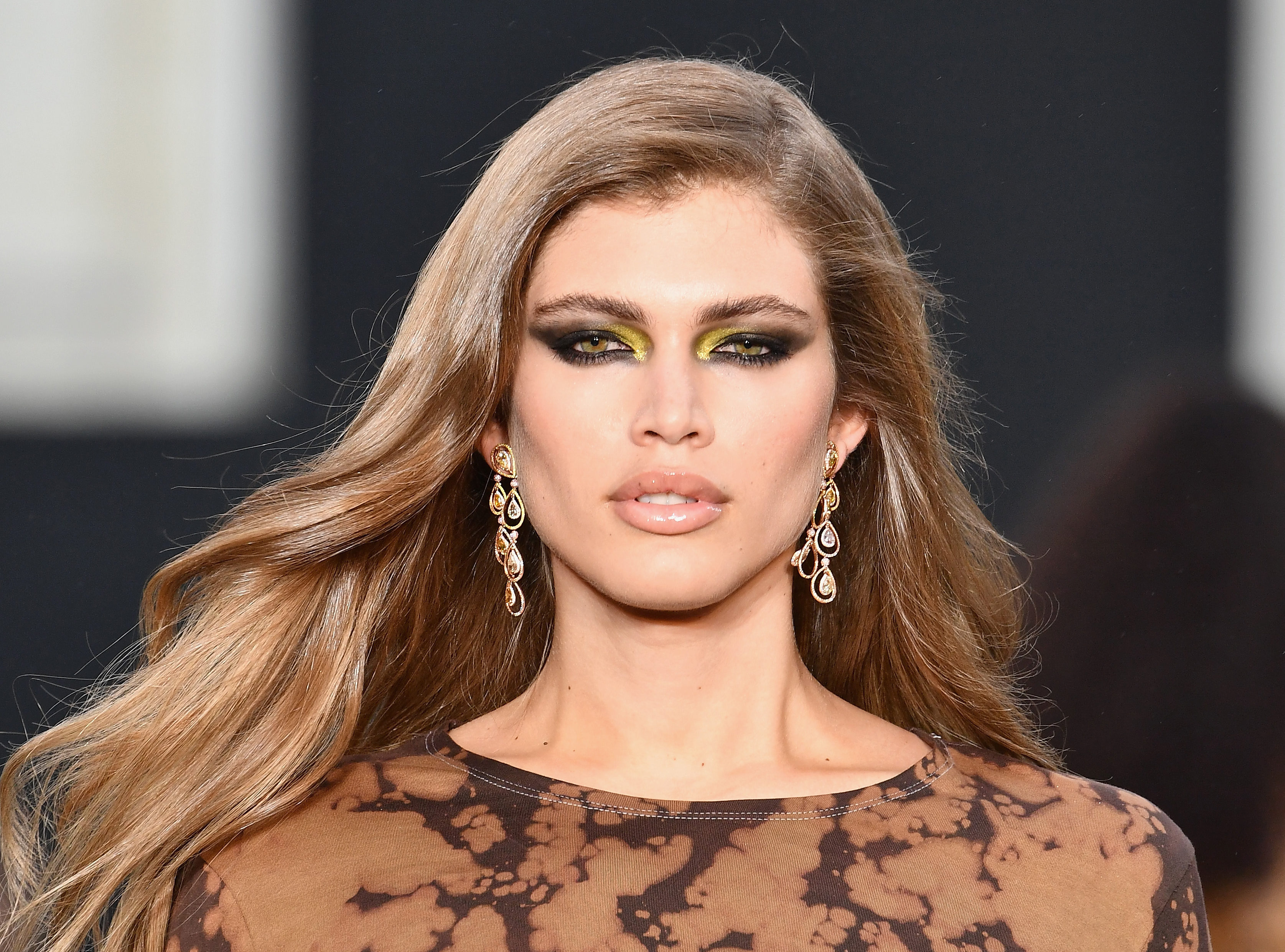 Valentina Sampaio walks the runway during Le Defile L'Oreal Paris as part of Paris Fashion Week Womenswear Spring/Summer 2018 at Avenue Des Champs Elysees on October 1, 2017 in Paris, France. (Photo by Pascal Le Segretain/Getty Images for L'Oreal Paris)