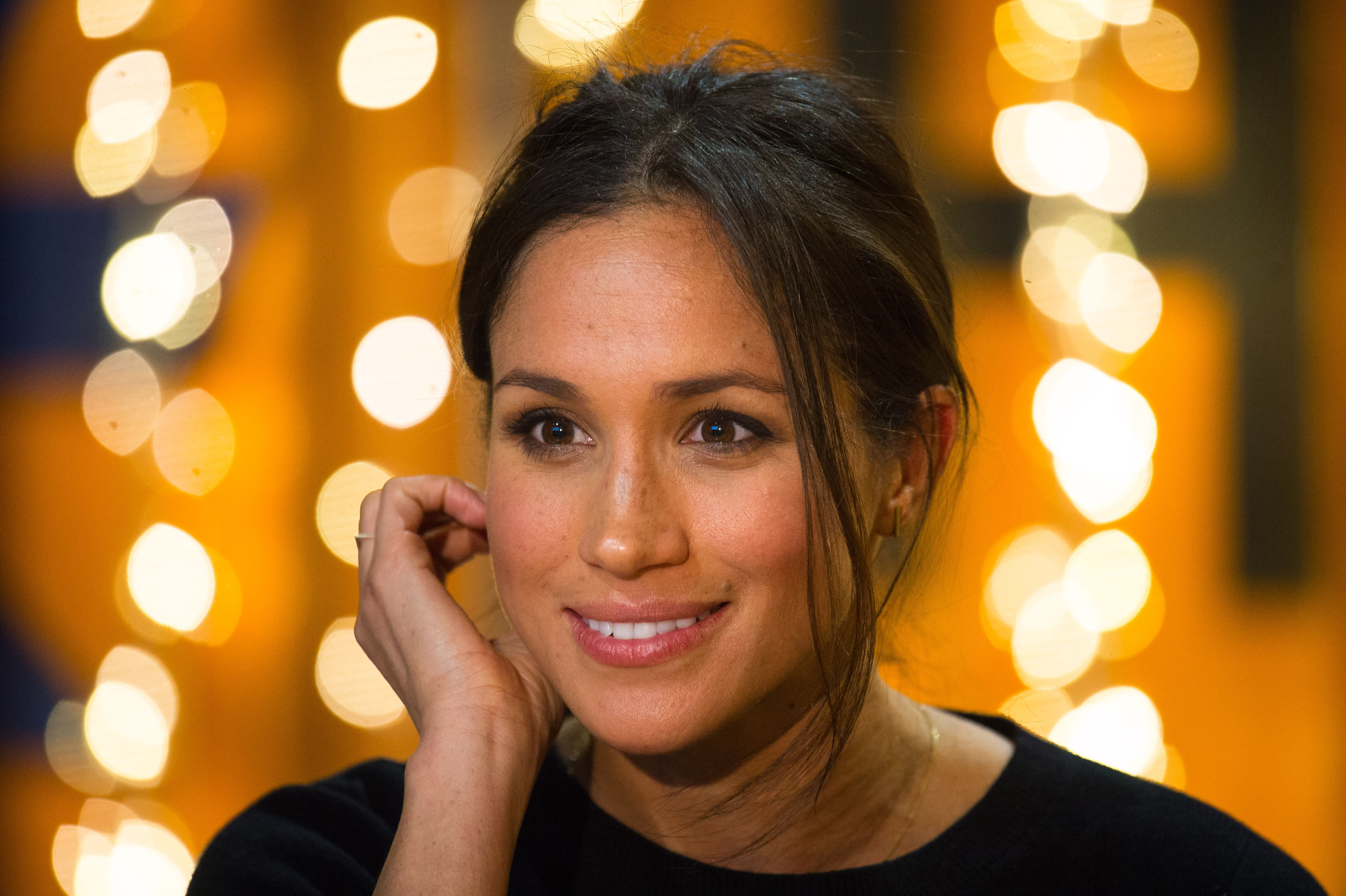 Meghan Markle during a visit to Reprezent 107.3FM in Pop Brixton on January 9, 2018 in London, England. (Photo by Dominic Lipinski - WPA Pool/Getty Images)