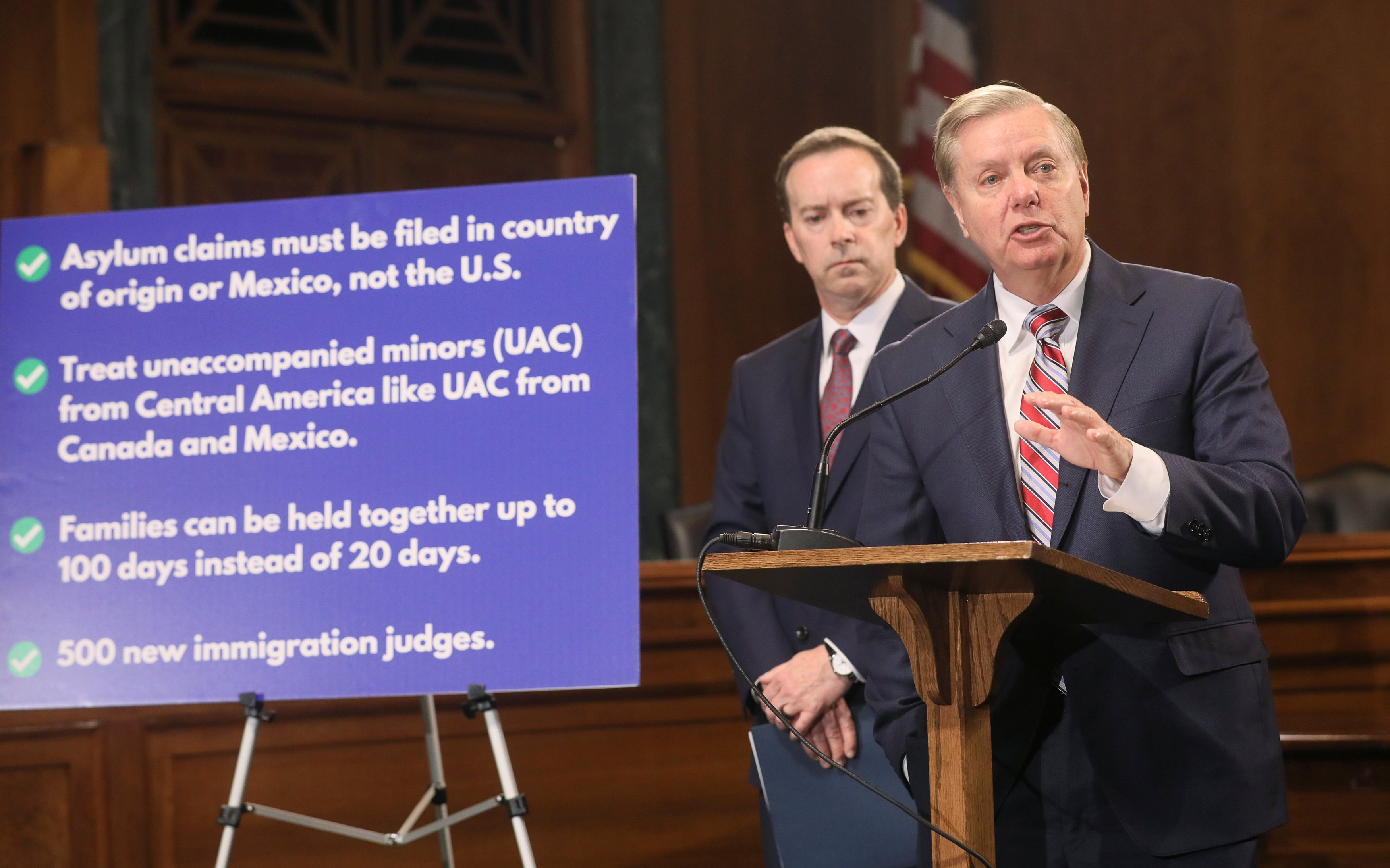 U.S. Senate Judiciary Committee Chairman Graham holds news conference on Capitol Hill in Washington