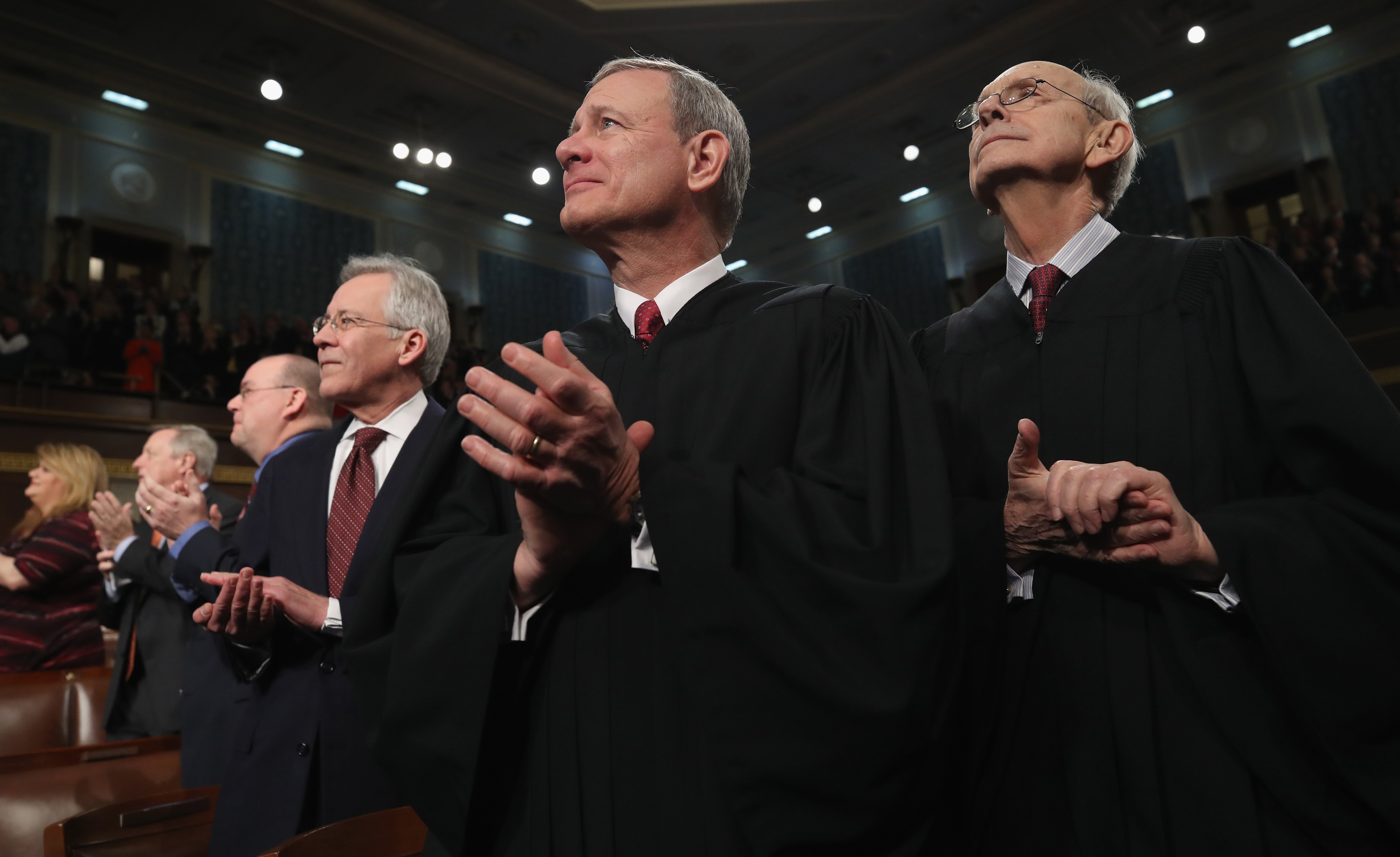 Chief Justice John G. Roberts watches the State of the Union address on January 30, 2018. (Win McNamee/Getty Images)