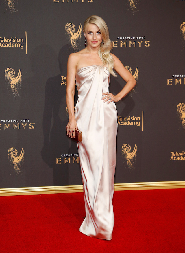 Dancer Julianne Hough poses at the 2017 Creative Arts Emmy Awards in Los Angeles, California September 9, 2017. REUTERS/Danny Moloshok