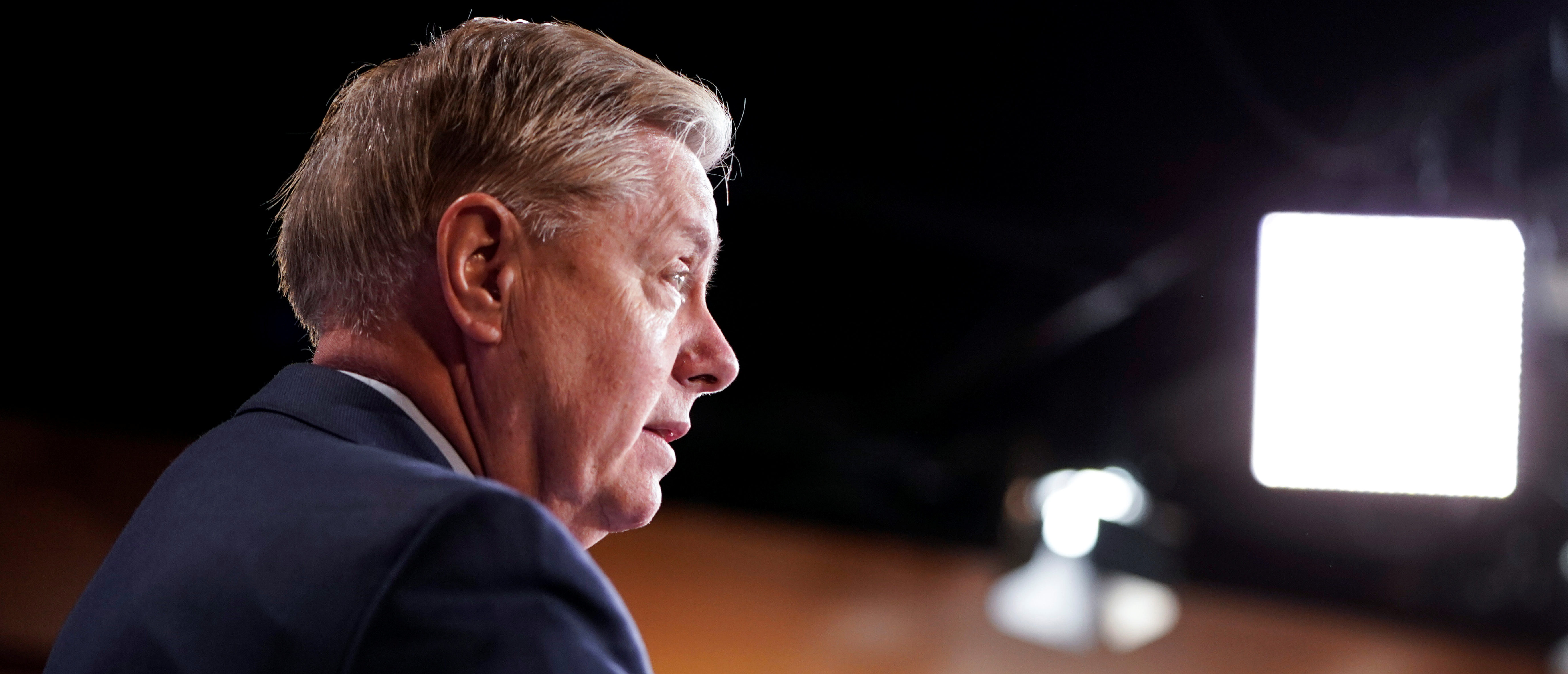Chairman of the Senate Judiciary Committee Lindsey Graham (R-SC) speaks to the media on Capitol Hill in Washington.