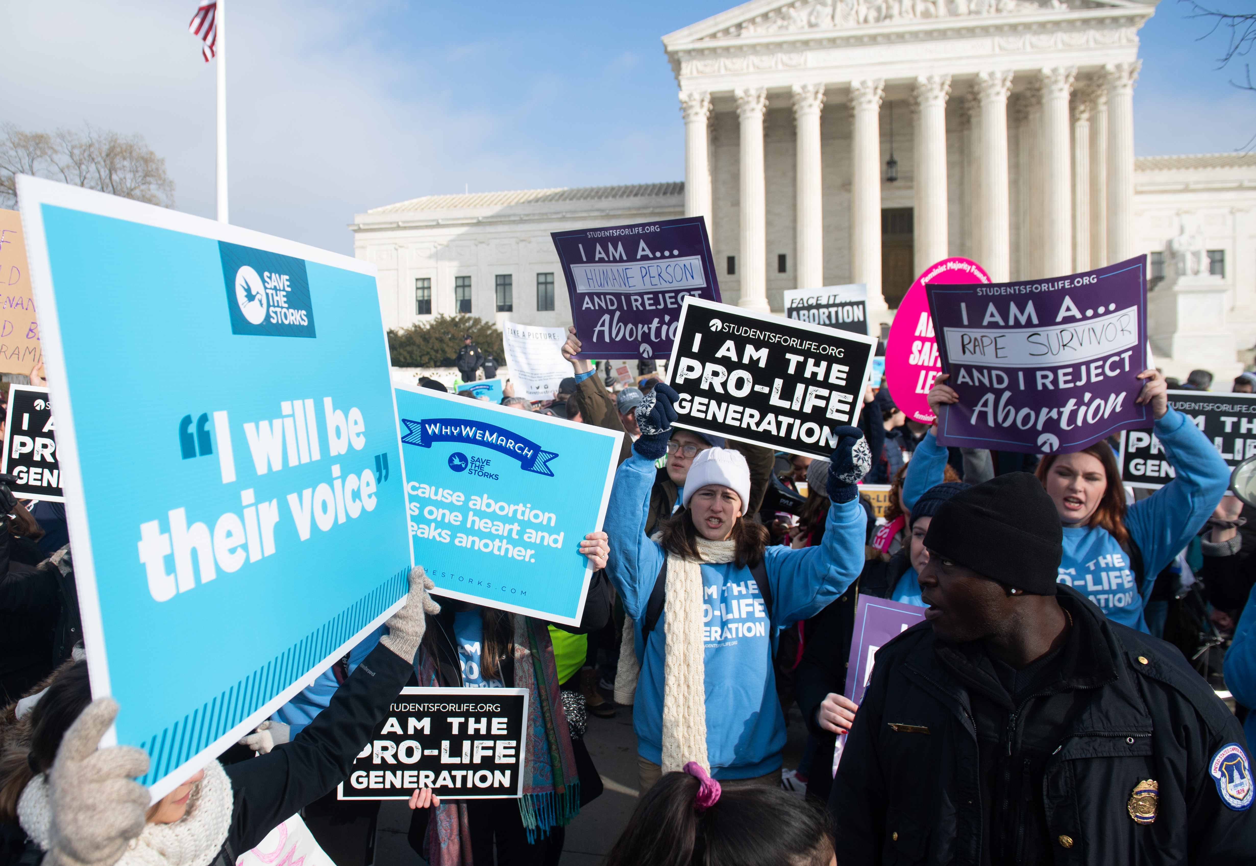 Pro-life activists participate in the March for Life on January 18, 2019. (Saul Loeb/AFP/Getty Images)