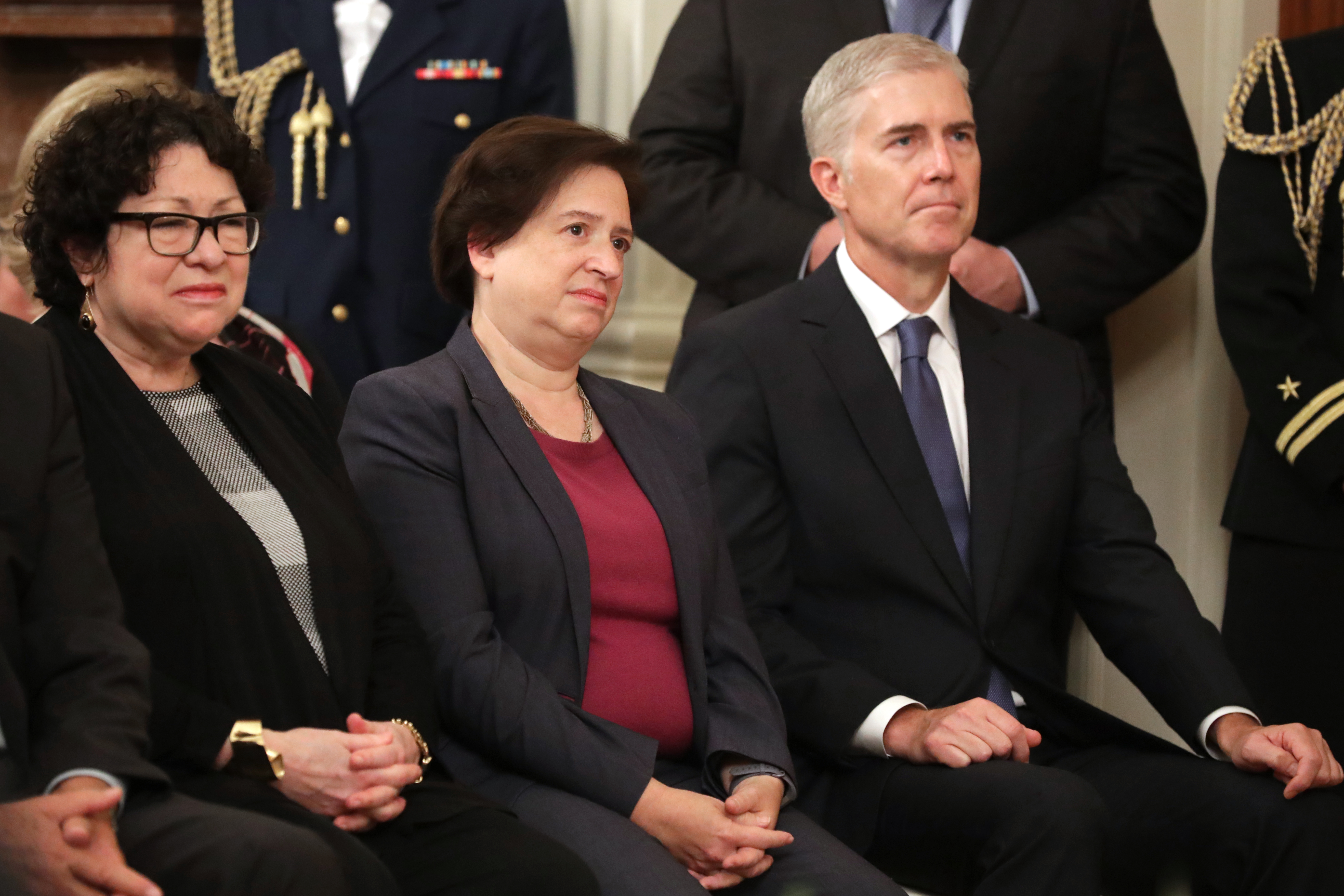 (R-L) Justices Neil Gorsuch, Elena Kagan, and Sonia Sotomayor in the East Room of the White House on October 08, 2018. (Chip Somodevilla/Getty Images)