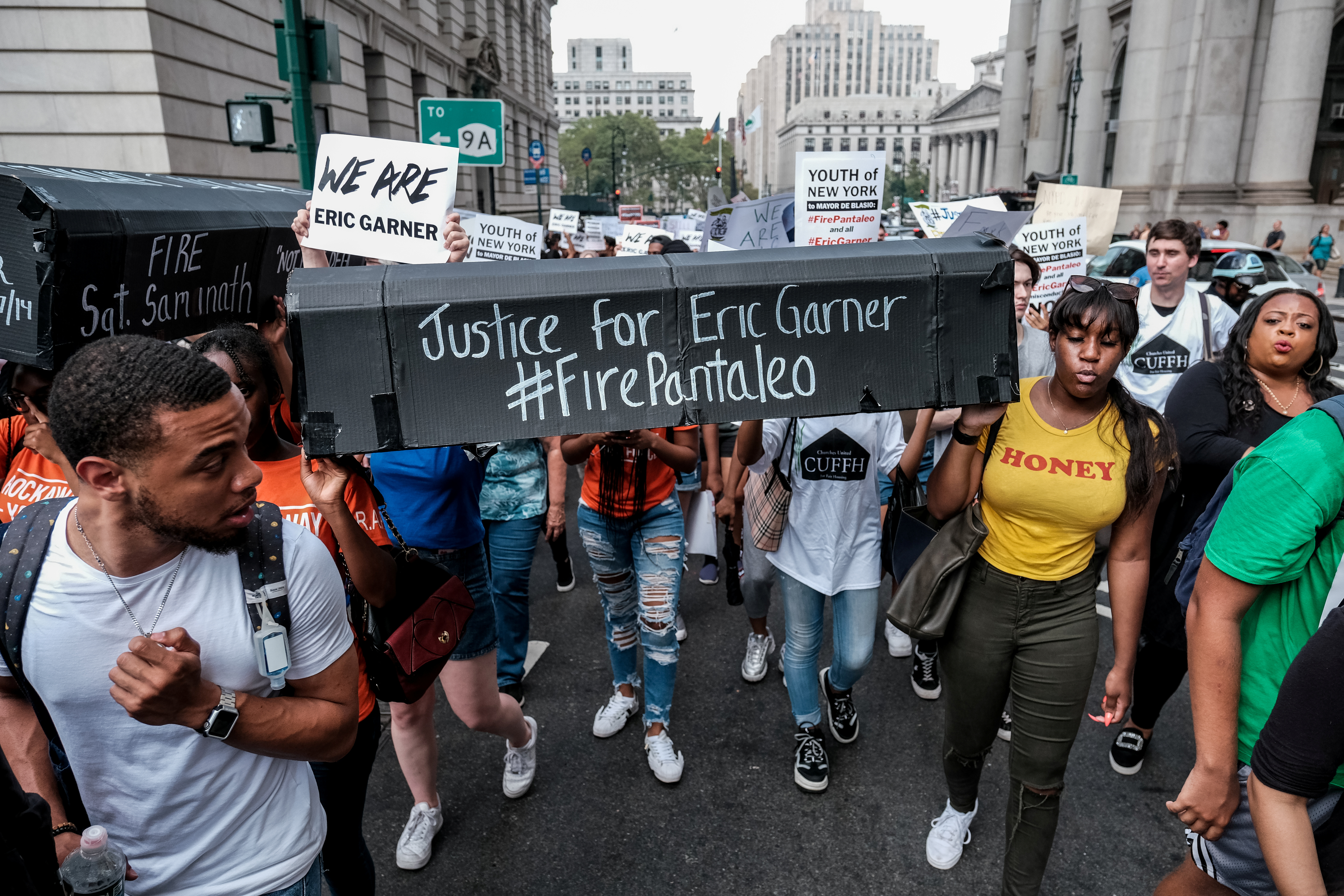 Protesters march and rally on the fifth anniversary of the death of Eric Garner, a day after federal prosecutors announced their decision not to prosecute NYPD officer Daniel Pantaleo. (REUTERS/Michael A. McCoy)