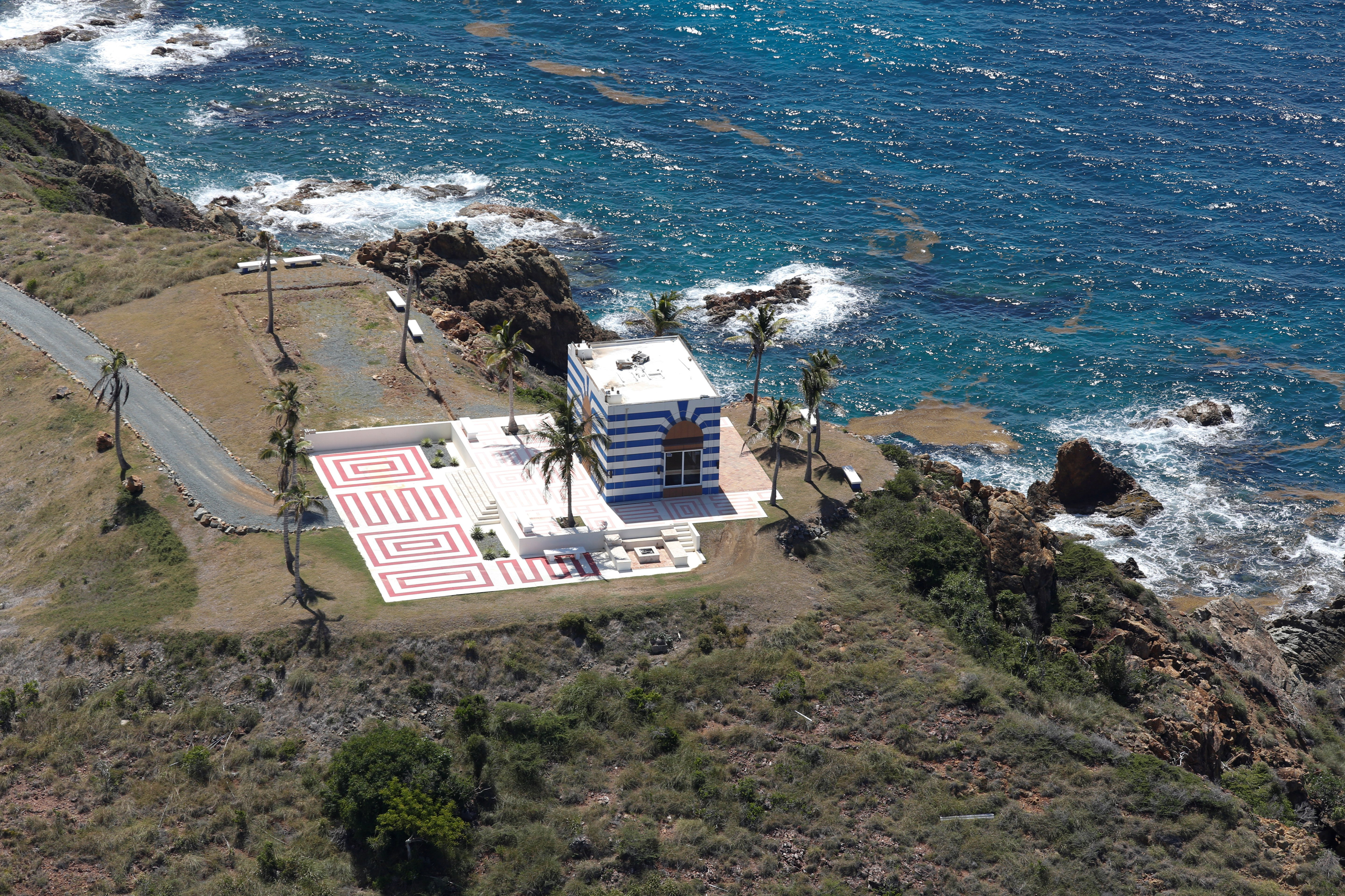 A building at Little St. James Island, one of the properties of financier Jeffrey Epstein, is seen in an aerial view, near Charlotte Amalie, St. Thomas, U.S. Virgin Islands July 21, 2019. The gold dome that previously topped the structure had been blown off by a 2017 hurricane. (Photo: REUTERS/Marco Bello)
