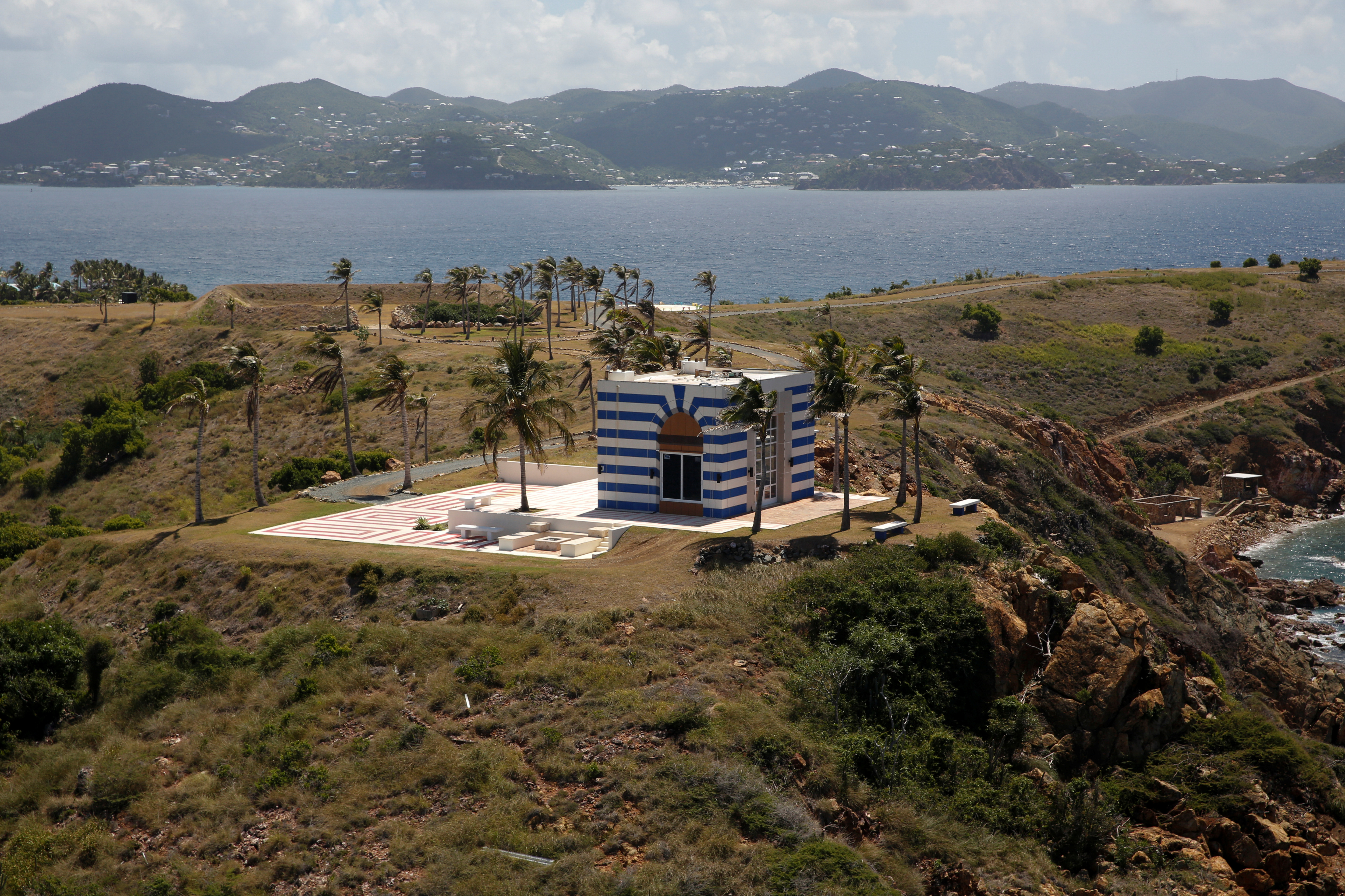 A building at Little St. James Island, one of the properties of financier Jeffrey Epstein, is seen in an aerial view, near Charlotte Amalie, St. Thomas, U.S. Virgin Islands July 21, 2019. (REUTERS/Marco Bello)
