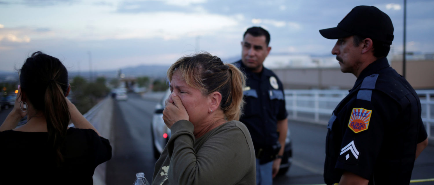 A woman reacts after a mass shooting at a Walmart in El Paso, Texas, Aug. 3, 2019. (REUTERS/Jose Luis Gonzalez)