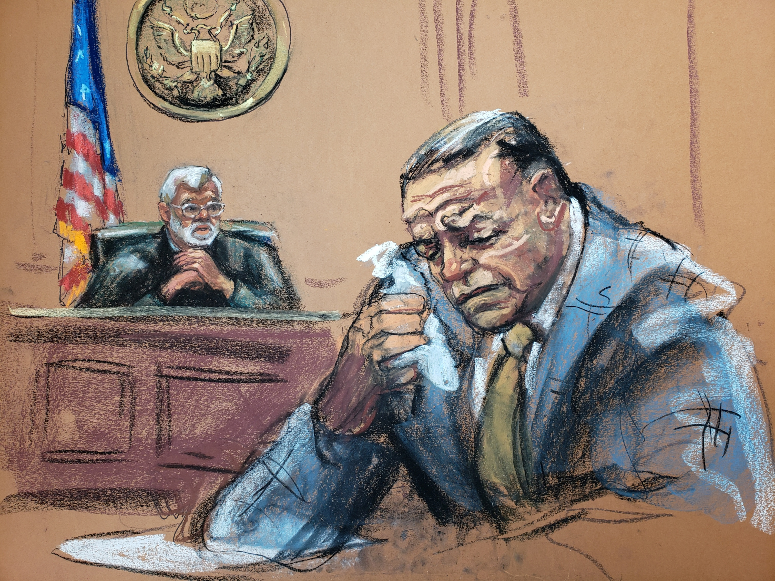 Cesar Sayoc, 57, who pleaded guilty in March to using weapons of mass destruction and other crimes, weeps during sentensing, as U.S. District Judge Jed Rakoff read the sentence, in this courtroom sketch at the federal court in Manhattan, New York, U.S., August 5, 2019. REUTERS/Jane Rosenberg