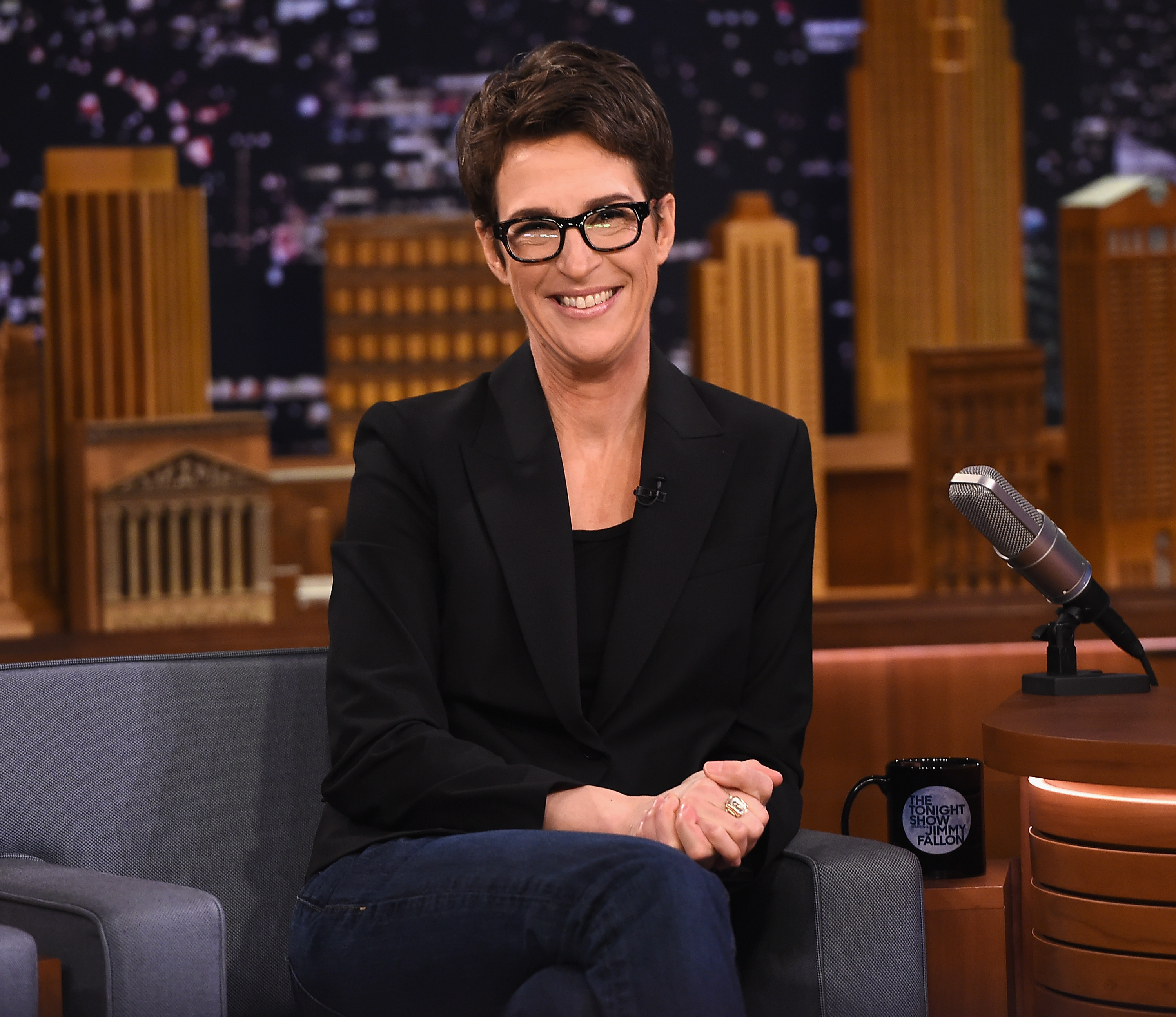 """Rachel Maddow visits """"The Tonight Show Starring Jimmy Fallon"""" on March 15, 2017 in New York City. (Theo Wargo/Getty Images for NBC)"""