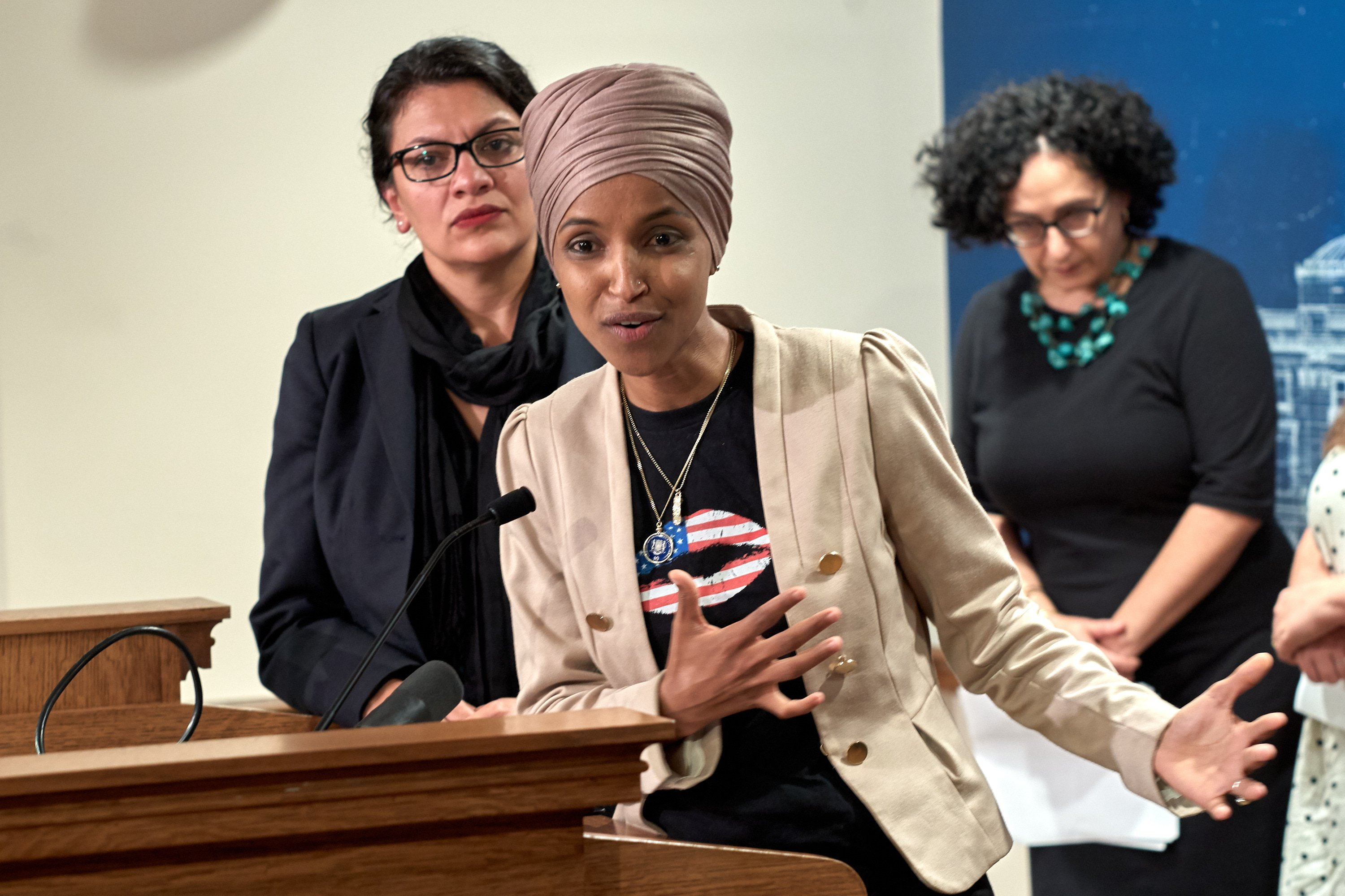 ST PAUL, MN - AUGUST 19: U.S. Reps. Ilhan Omar (D-MN) and Rashida Tlaib (D-MI) hold a news conference on August 19, 2019 in St. Paul, Minnesota. Israeli Prime Minister Benjamin Netanyahu blocked a planned trip by Omar and Tlaib to visit Israel and Palestine citing their support for the boycott, divestment, and sanctions (BDS) movement against Israel. (Photo by Adam Bettcher/Getty Images)