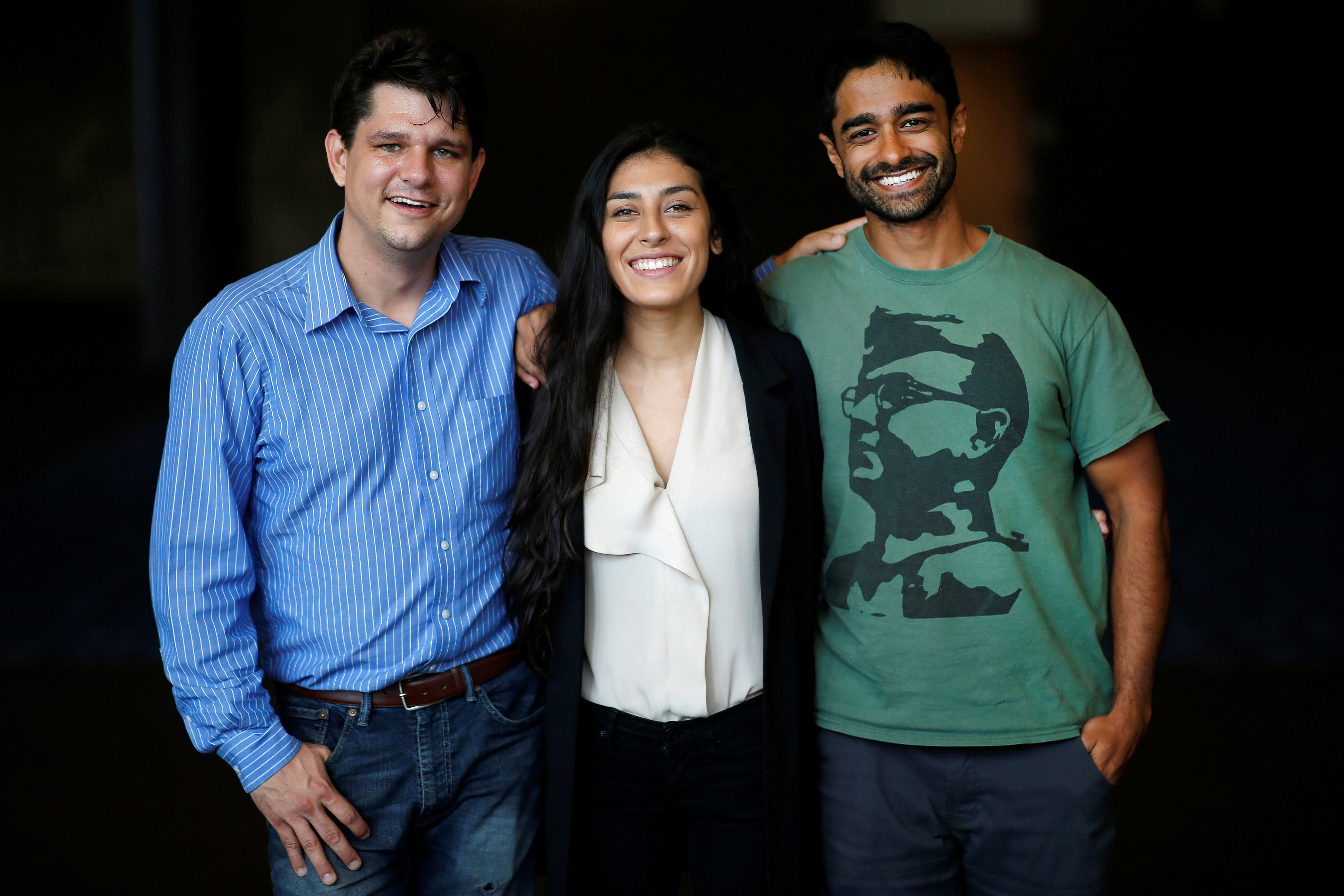 Corbin Trent (L), Alexandra Rojas (C), and Saikat Chakrabarti of Justice Democrats pose for a photo at the Netroots Nation annual conference for political progressives in New Orleans, Louisiana, U.S., August 4, 2018. Picture taken August 4, 2018. To match Special Report USA-ELECTION/PROGRESSIVES REUTERS/Jonathan Bachman