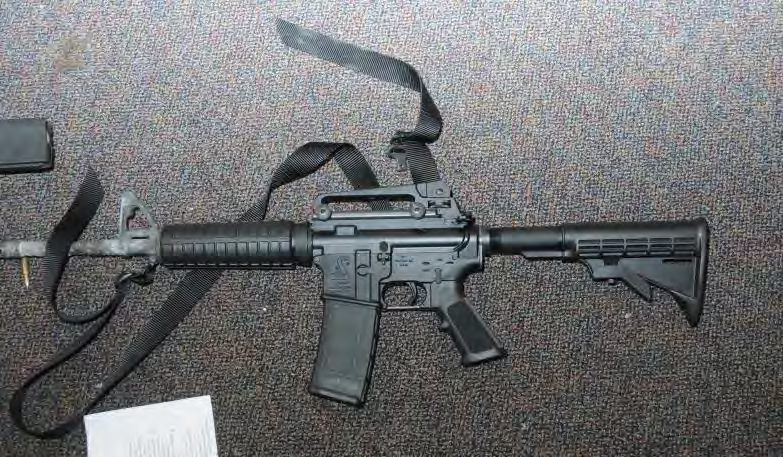 A Bushmaster rifle in room 10 at Sandy Hook Elementary School following the December 14, 2012 shooting rampage. (Connecticut State Police via Getty Images)