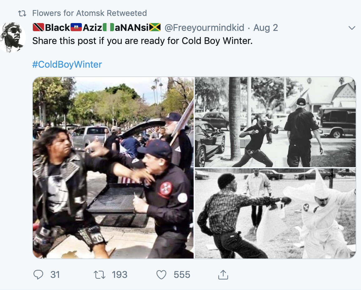 The Twitter account re-tweeted photos and comments about anti-fascism. (Screenshot Twitter/@iamthespookster)