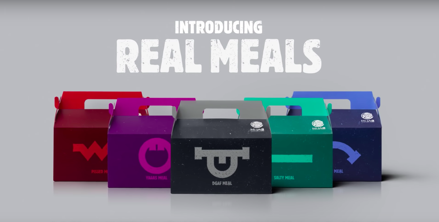 """Buger Kind's """"Real Meal"""" promotion features boxes that display a different emotion. (Burger King/Youtube)"""