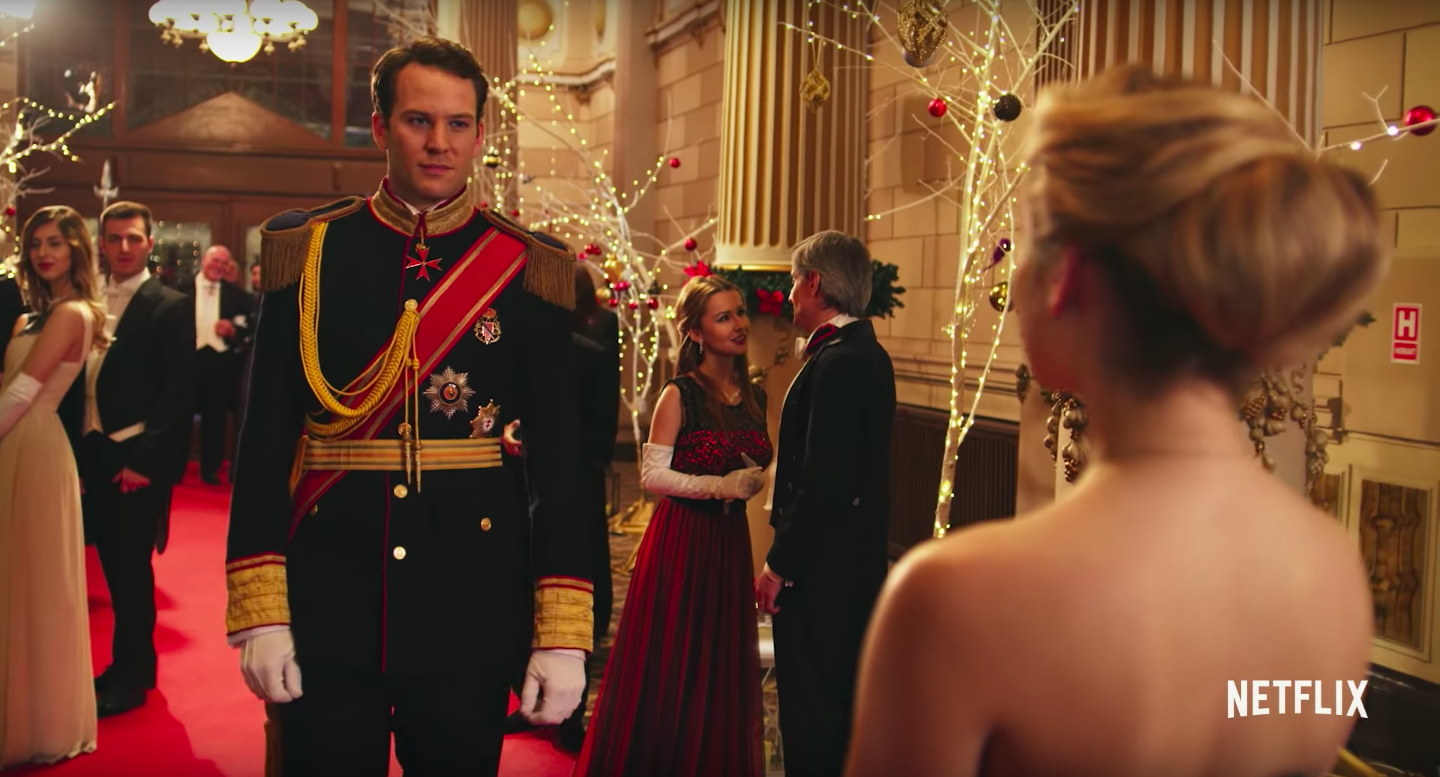 """A scene from """"A Christmas Prince,"""" a Netflix romantic comedy in which an American journalist falls in love with a prince from a fictional European country. (Netflix/Youtube)"""