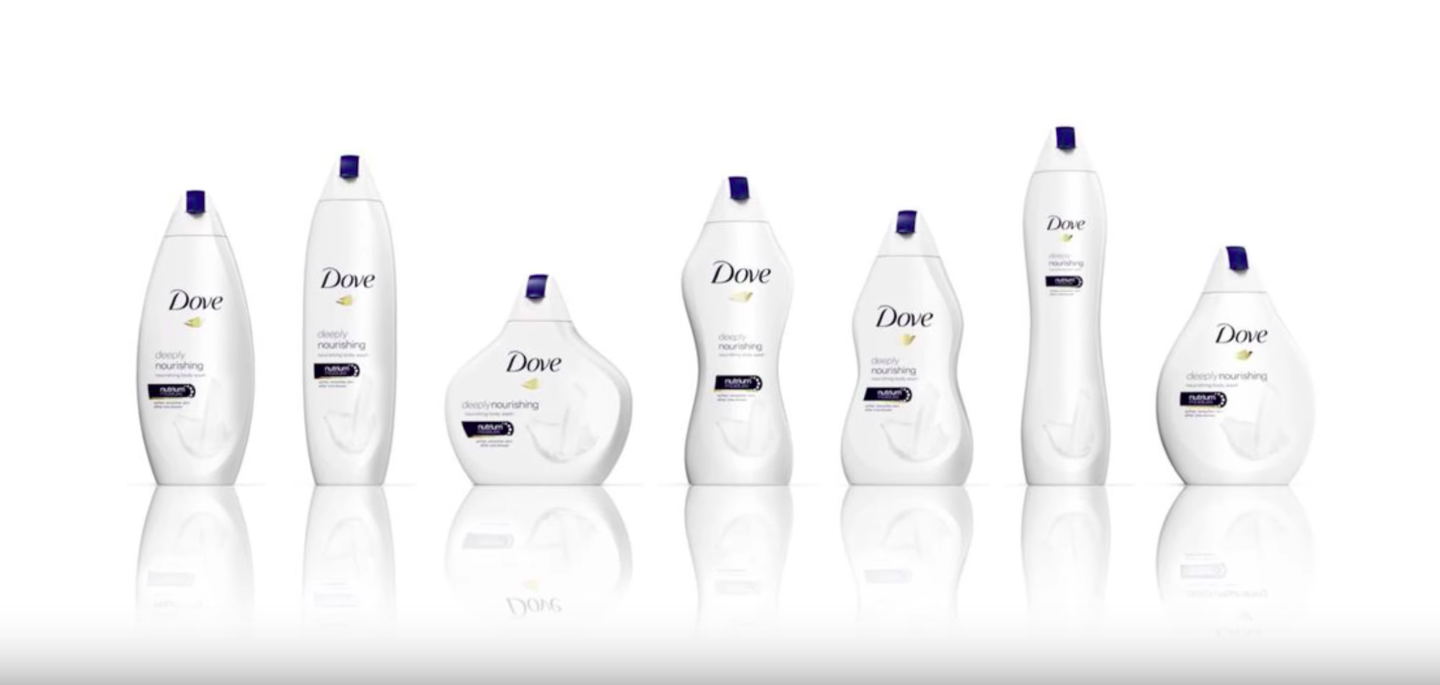 """Dove released shower gel bodies designed to mimic different body types as part of their """"Real Beauty"""" campaign. (Youtube/Wochit News)"""
