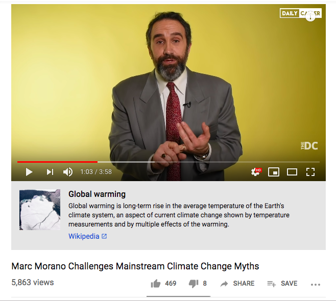 Youtube fact-checks Marc Morano for speaking on climate change myths for the Daily Caller. (Youtube/Daily Caller)