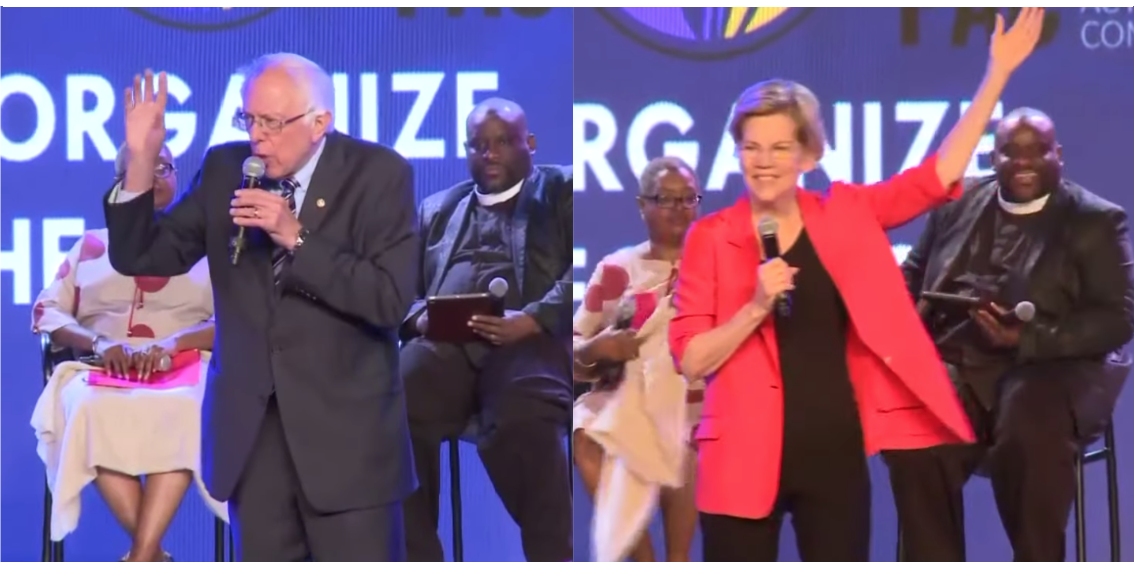 Sanders and Warren each held the stage for about 20 minutes and promoted progressive ideas. (YouTube/11 Alive)