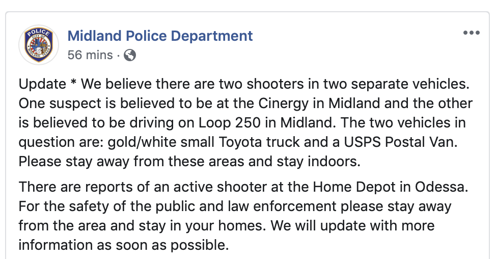 Midland Police Department reports on an active shooter situation in Texas. (Screenshot Midland Police Department Facebook)
