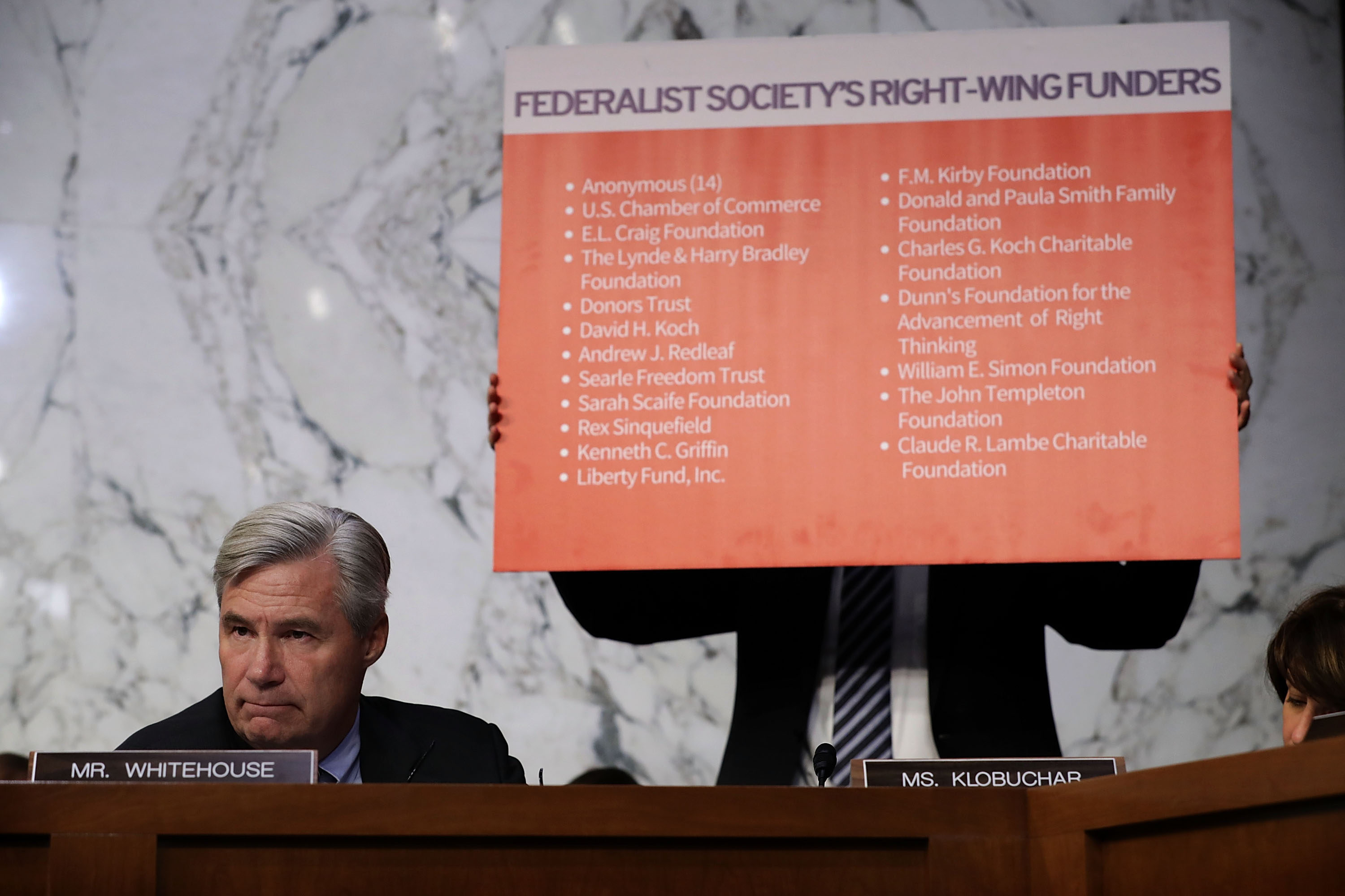 Sen. Sheldon Whitehouse (D-RI) questions Justice Brett Kavanaugh during a Supreme Court confirmation hearing on September 5, 2018. (Chip Somodevilla/Getty Images)