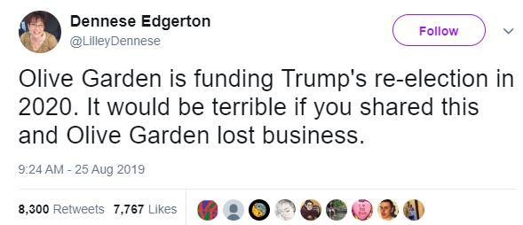 Dennese Edgerton boycott olive garden Tweet (screenshot / Wayback Machine)