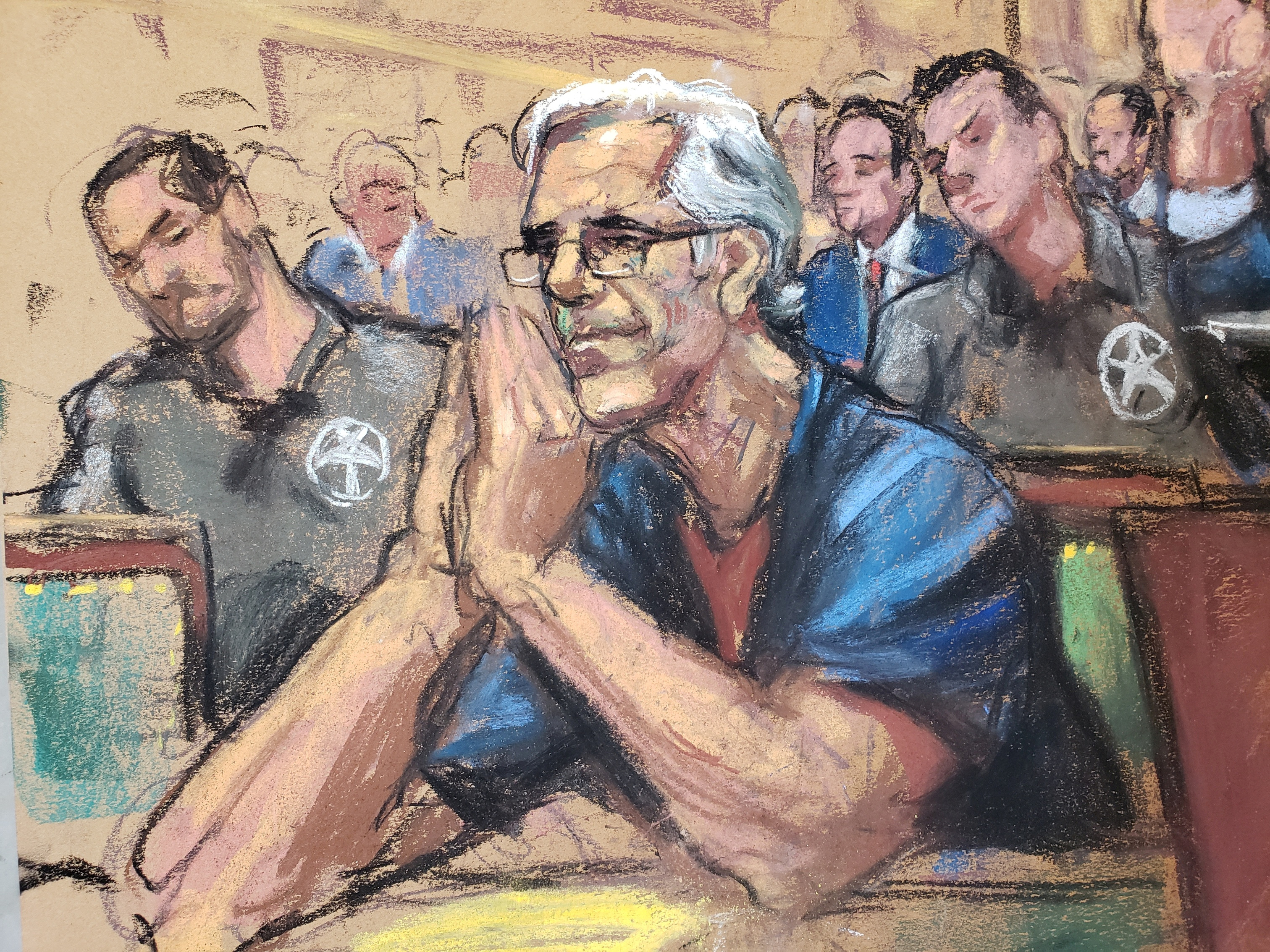 Jeffrey Epstein looks on during a a bail hearing in U.S. financier Jeffrey Epstein's sex trafficking case, in this court sketch in New York, U.S., July 15, 2019. Epstein was denied bail and was found unresponsive in the Metropolitan Correctional Center August 10, 2019. REUTERS/Jane Rosenberg/File Photo RC1A1C9C32D0