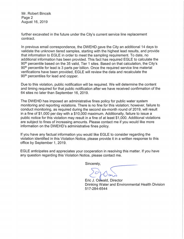 Letter from Michigan environmental agency to Flint