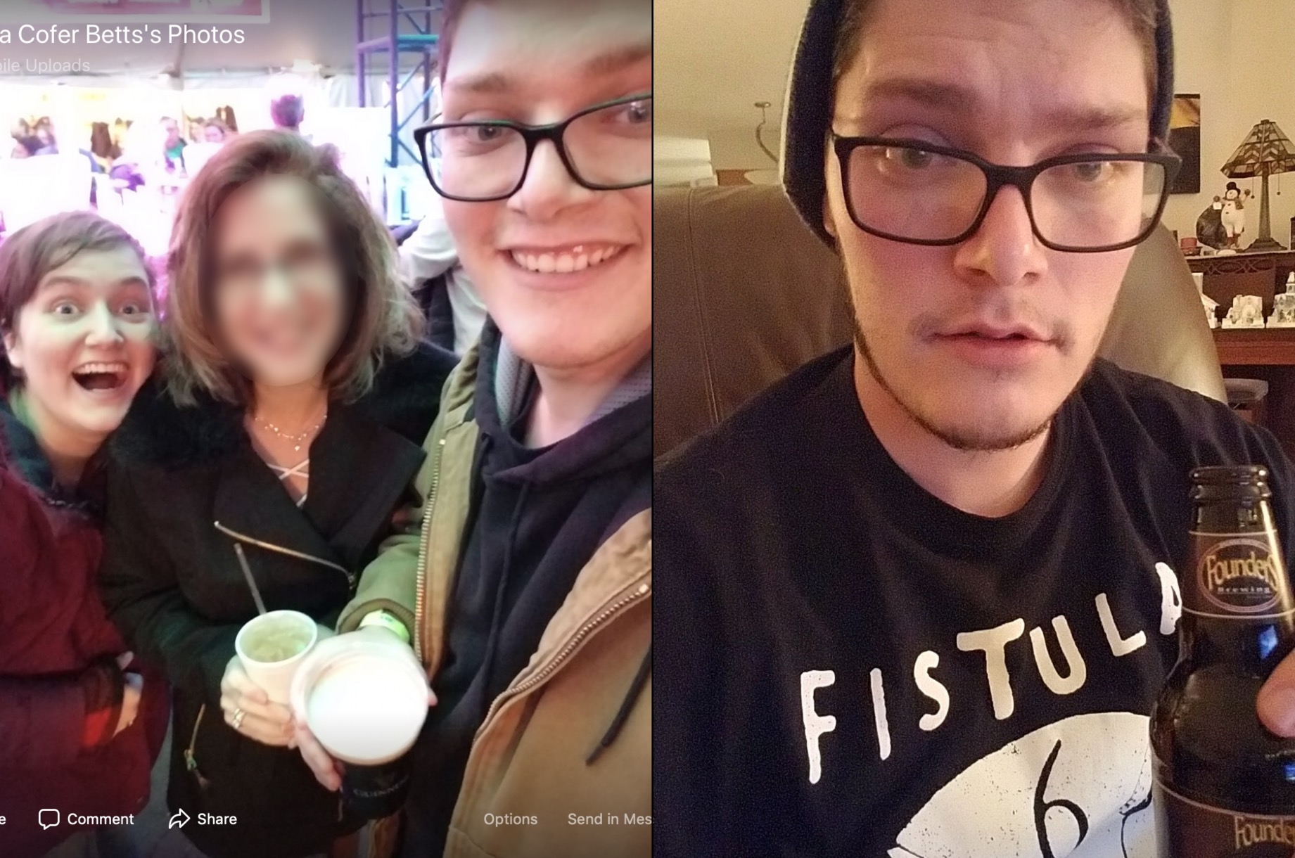 The photo on the left, taken from Betts's mother's Facebook page, matches the one on the right, taken from the Twitter account. (Facebook Screenshot Moria Cofer Betts/Twitter Screenshot @iamthespookster)