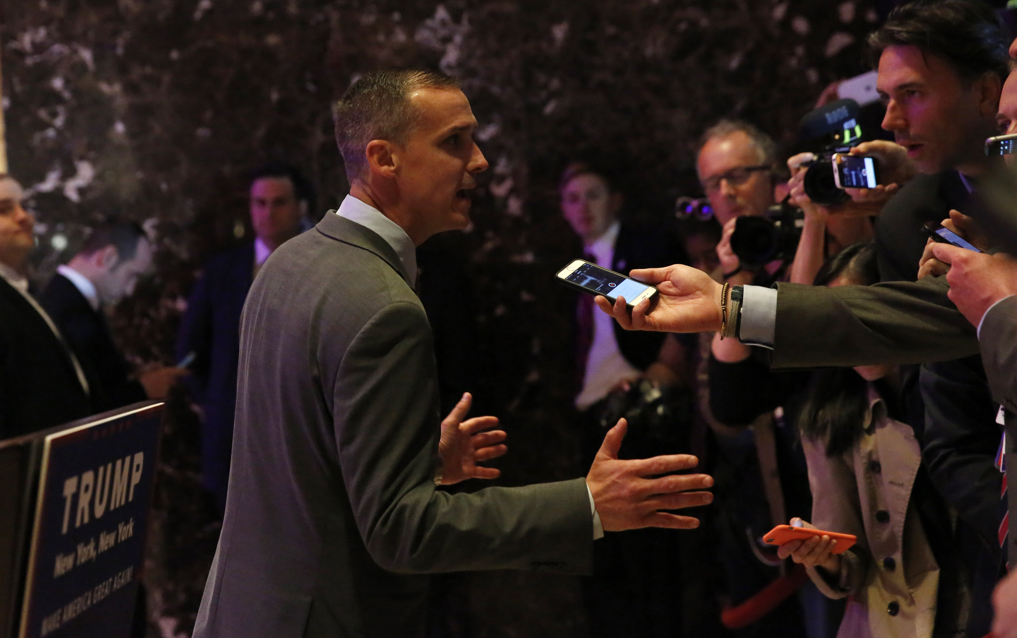 Corey Lewandowski, campaign manager for Republican U.S. presidential candidate Donald Trump, talks to the media before the start of Trump's New York presidential primary night rally in Manhattan, New York, U.S.A, April 19, 2016. REUTERS/Shannon Stapleton