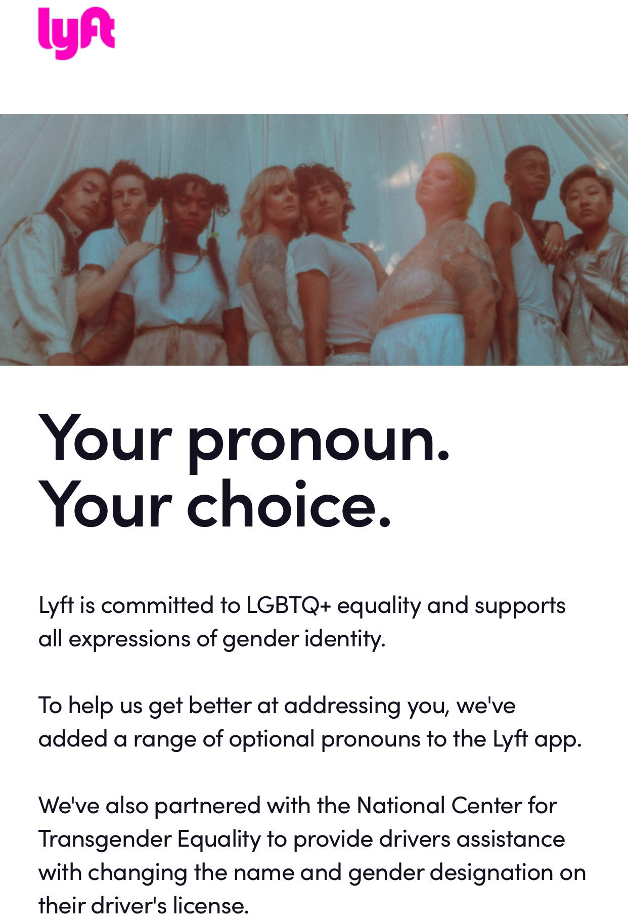 Lyft announces to users that they are now able to select a pronoun option in the app. (Lyft)