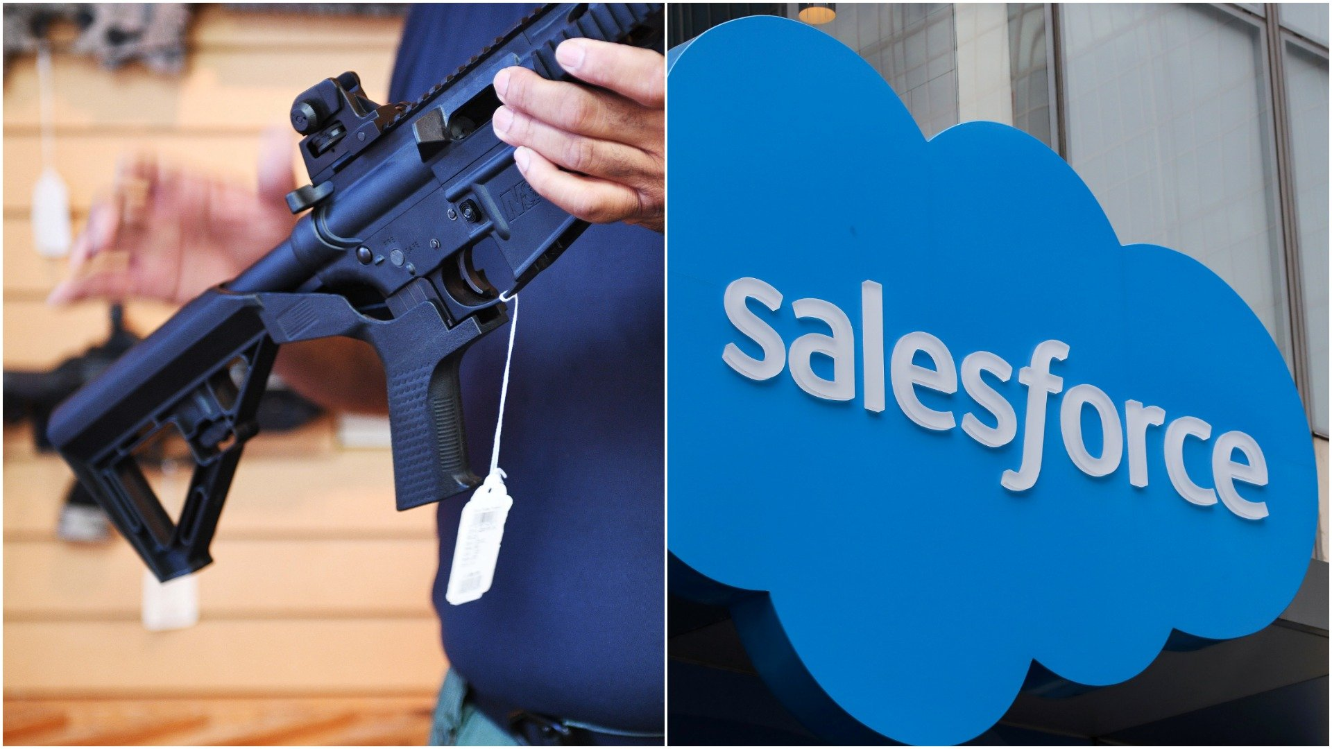 A weapon (JIM WATSON/AFP/Getty Images) and the salesforce logo. (Brendan McDermid/Reuters)