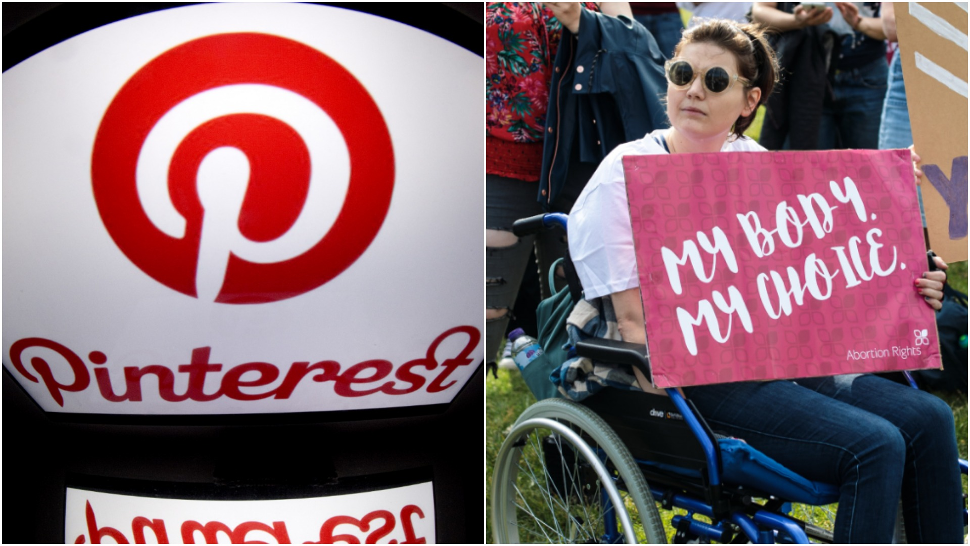 The pinterest logo (LIONEL BONAVENTURE/AFP/Getty)and a pro-abortion protester. (Jack Taylor/Getty Images)
