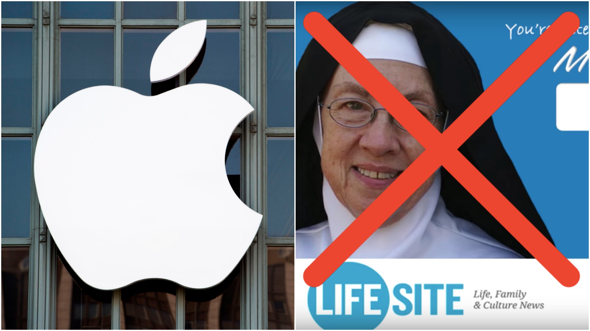 The apple logo (JOSH EDELSON/AFP/Getty Images) and an advertisement for Life Site New's Mother Miriam Live! overlayed with a red X. (LifeSite News/Youtube+Shutterstock)