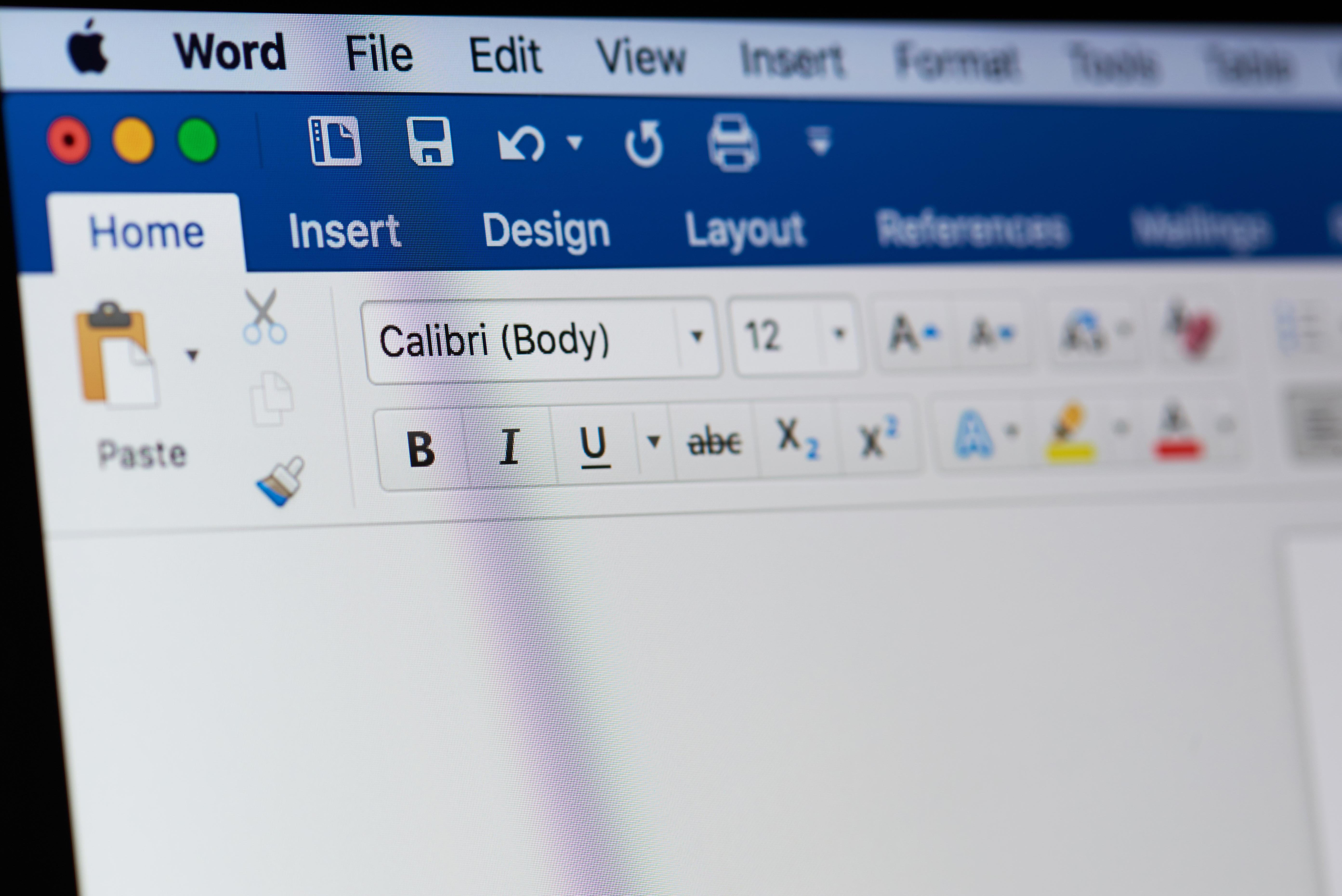 Microsoft Word on a Mac screen. (Shutterstock/Pixieme)