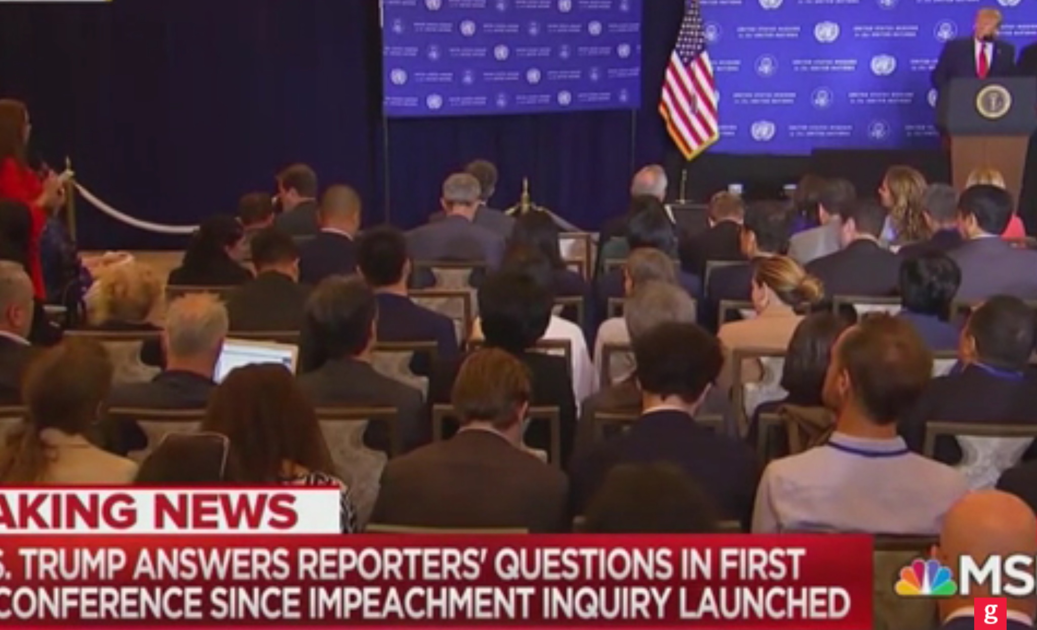 President Donald Trump holds a news conference in New York City, Sept. 25, 2019. MSNBC screenshot