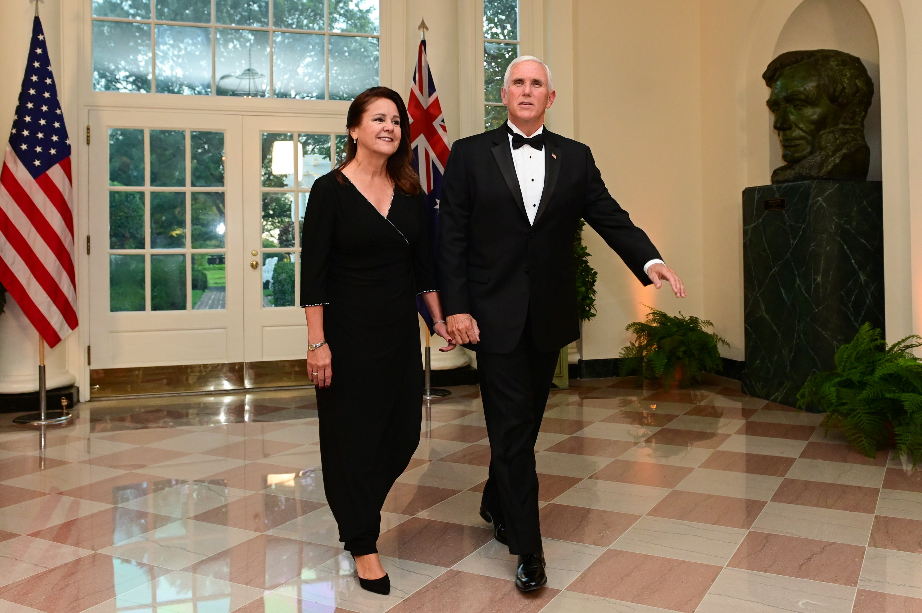 U.S. Vice President Mike Pence arrives with his wife, Karen Pence, for a State Dinner for Australia's Prime Minister Scott Morrison at the White House in Washington, U.S. September 20, 2019. REUTERS/Erin Scott