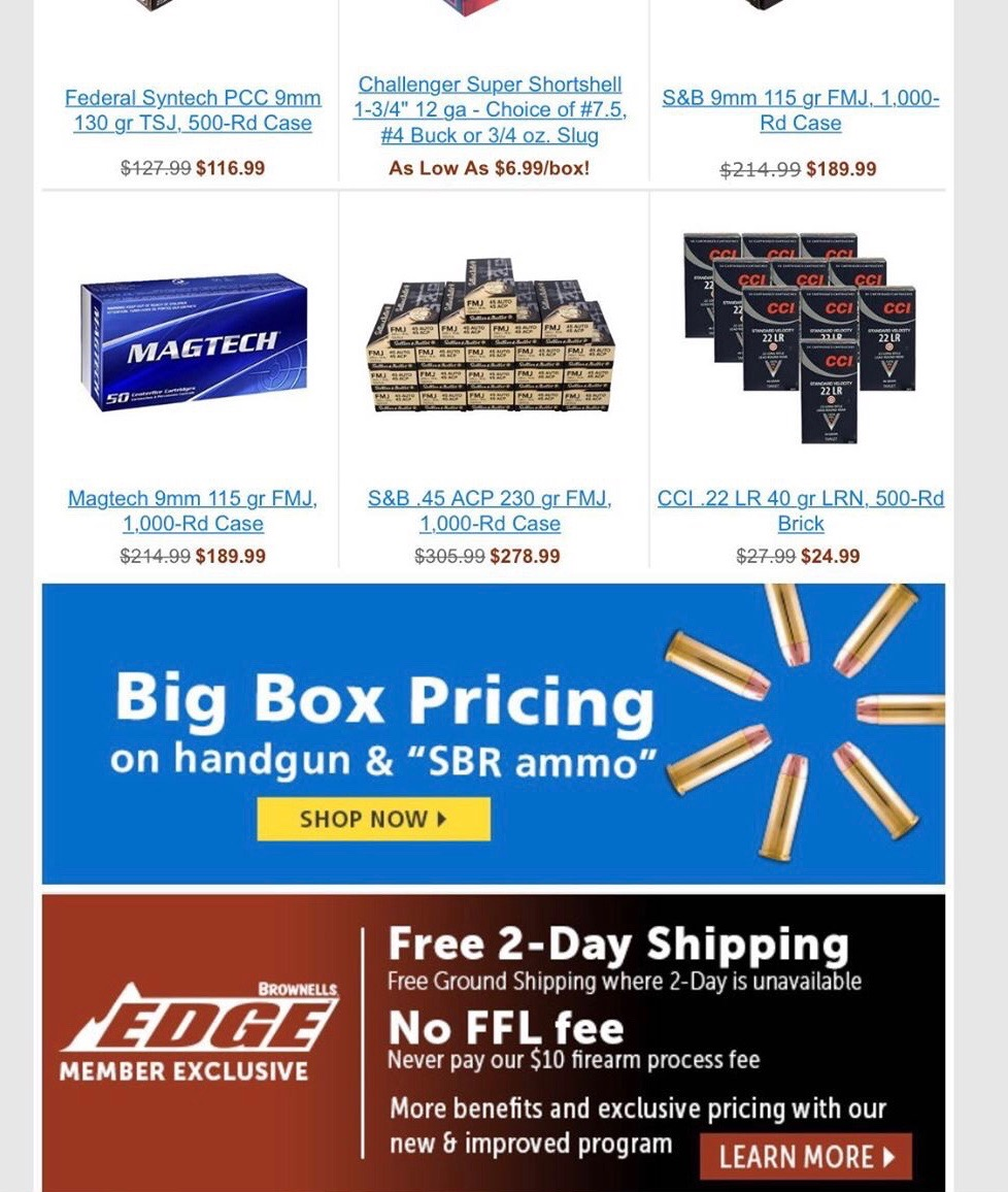 A Brownells sent this marketing email which included discount deals on ammunition as well as a shot at Walmart. (Brownells/Email)